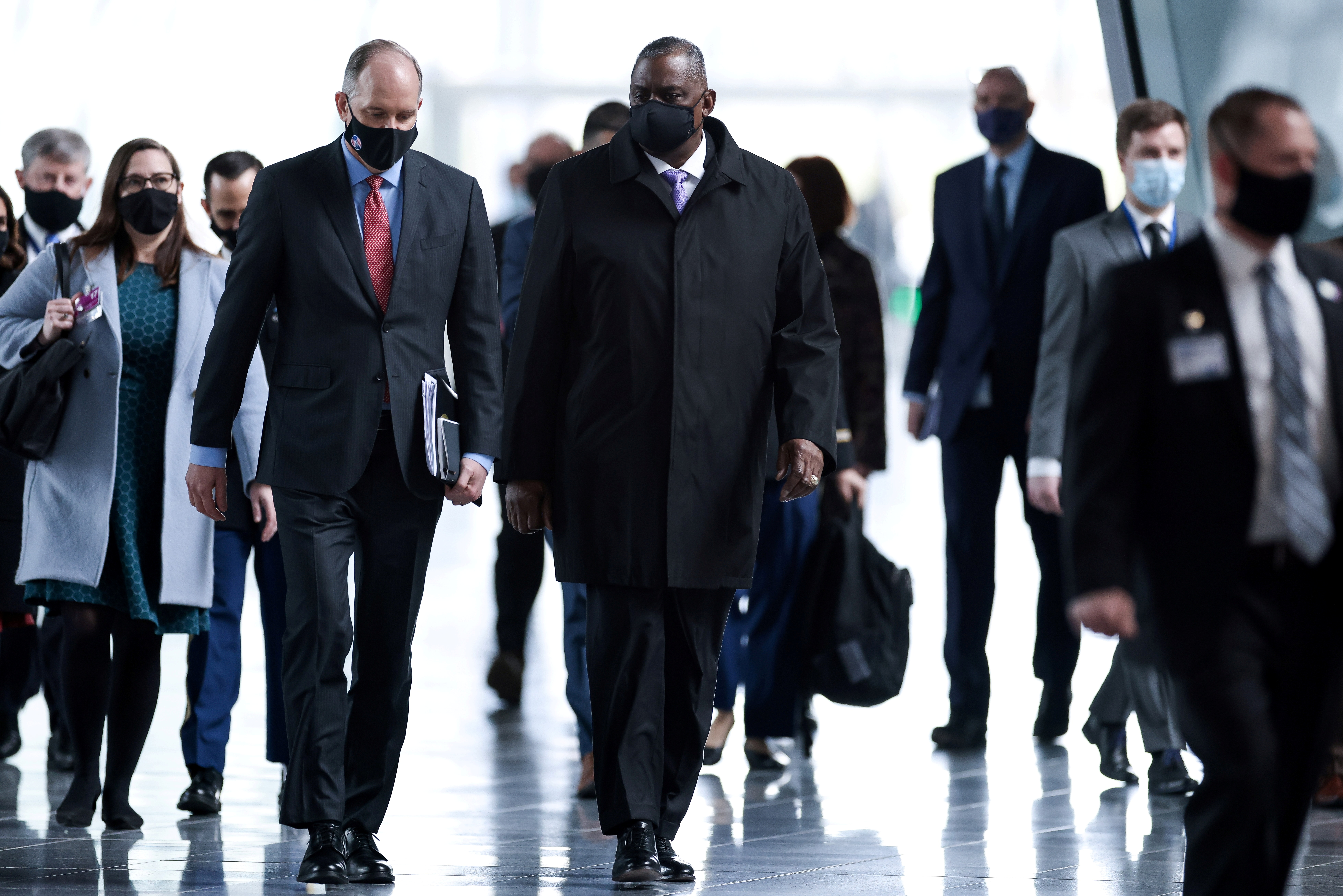 U.S. Defence Secretary Lloyd Austin arrives for a meeting of foreign ministers of the U.S., Britain, France and Germany on Afghanistan at NATO's headquarters in Brussels, Belgium, April 14, 2021. Kenzo Tribouillard/Pool via Reuters