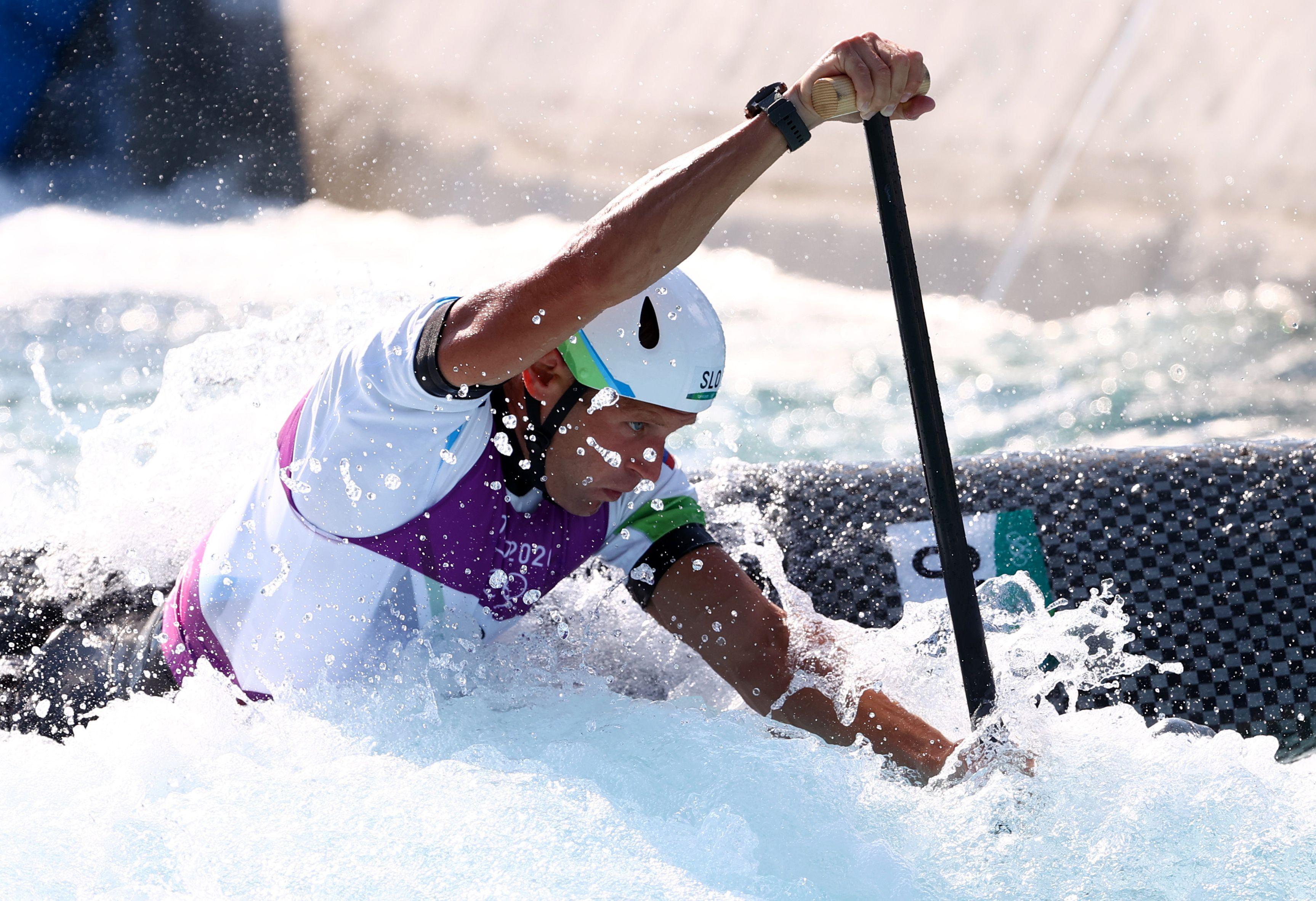 Tokyo 2020 Olympics - Canoe Slalom - Men's C1 - Heats - Kasai Canoe Slalom Centre, Tokyo, Japan - July 25, 2021. Benjamin Savsek of Slovenia in action. REUTERS/Stoyan Nenov