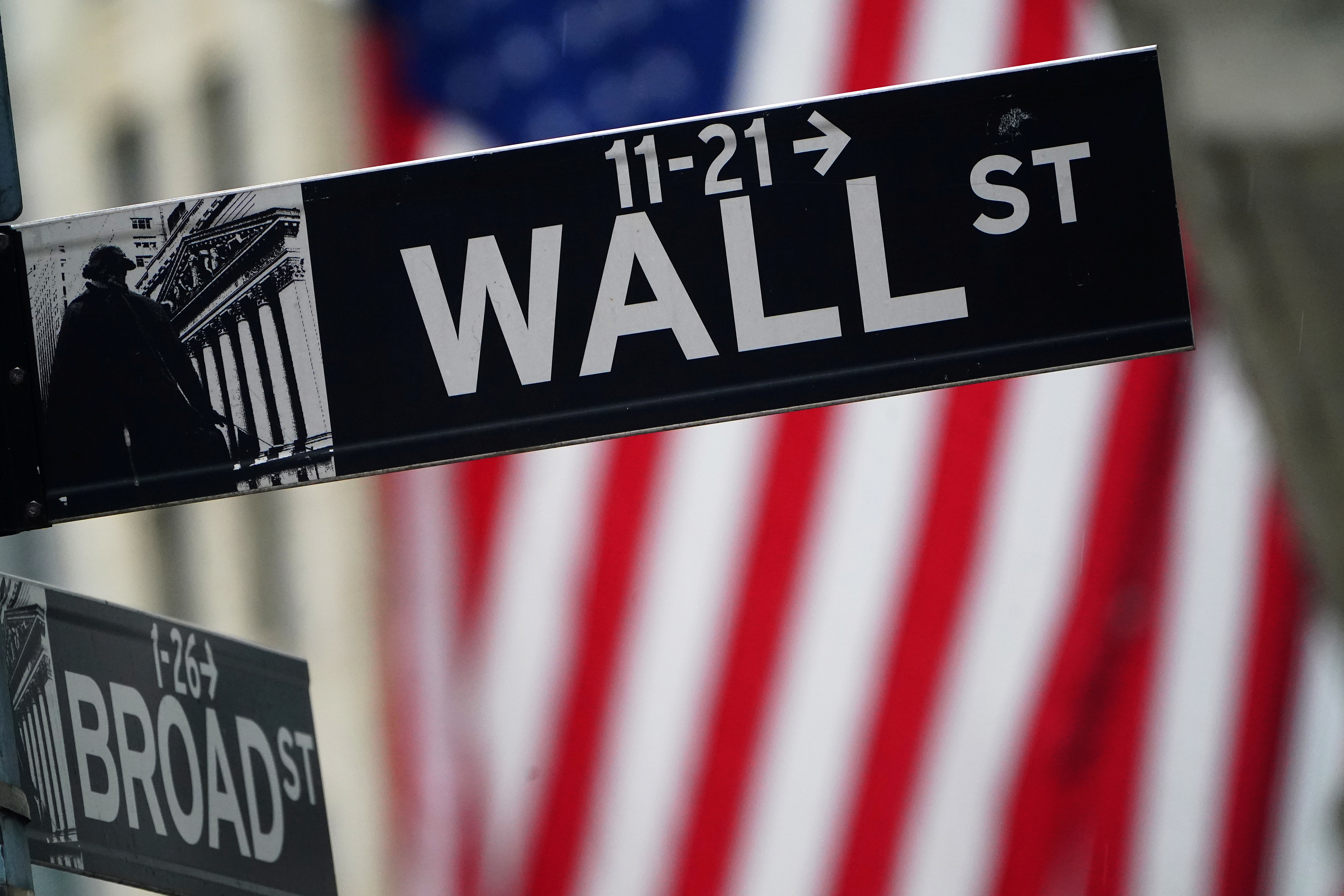 A Wall Street sign is pictured outside the New York Stock Exchange in the Manhattan borough of New York City, New York, U.S., October 2, 2020. REUTERS/Carlo Allegri/File Photo