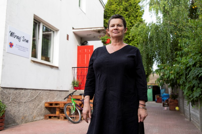 Katarzyna Skopiec, a human rights activist running the House of Peace (Mirnyj Dom) and Humanosh Foundation, which provide shelter for Belarusian refugees, poses for a picture in Warsaw, Poland June 15, 2021. REUTERS/Kuba Stezycki