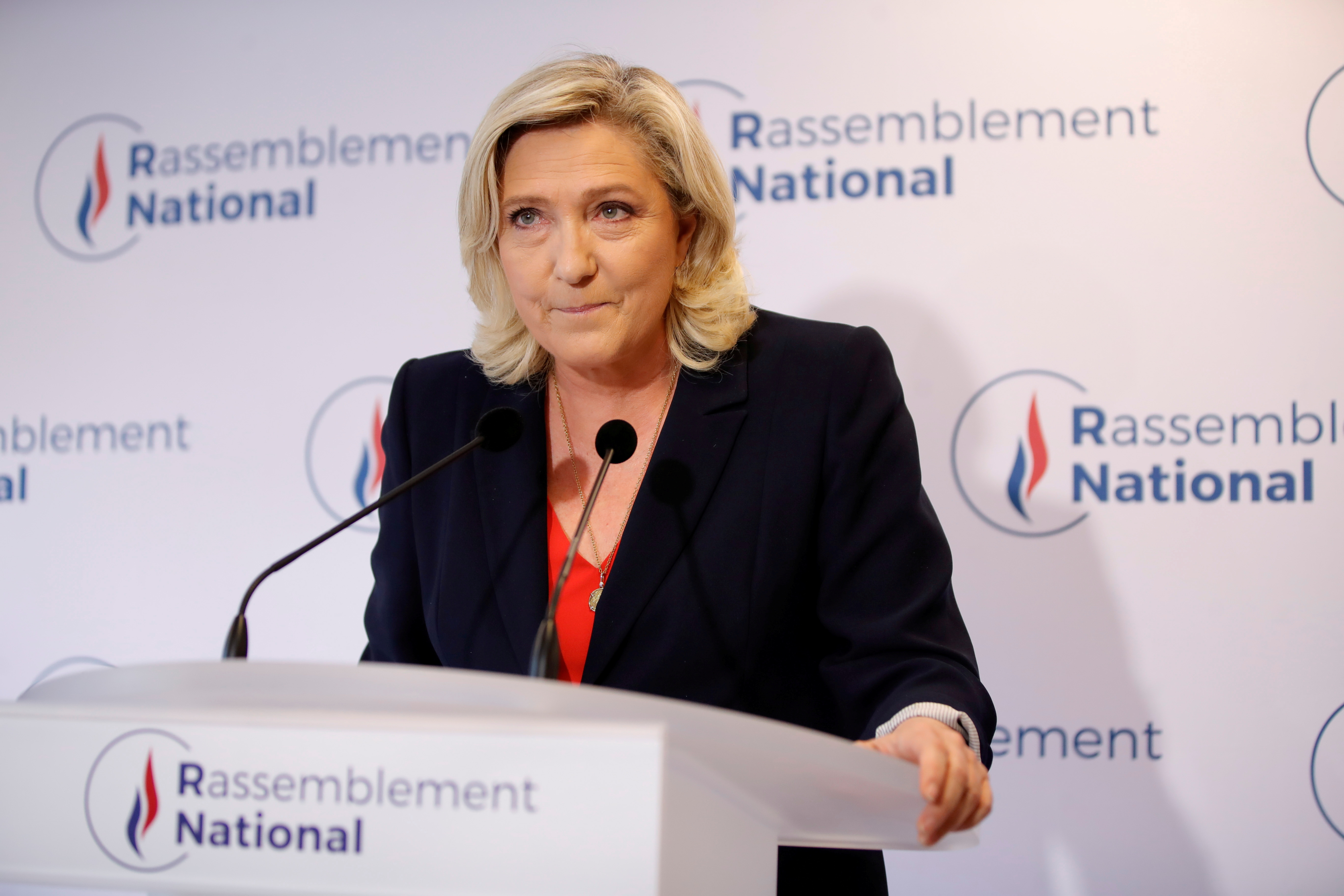 French far-right National Rally (Rassemblement National) party leader Marine Le Pen delivers a speech in reaction to the outcomes of the second round of French regional and departmental elections, in Nanterre, near Paris, France June 27, 2021. REUTERS/Sarah Meyssonnier/File Photo
