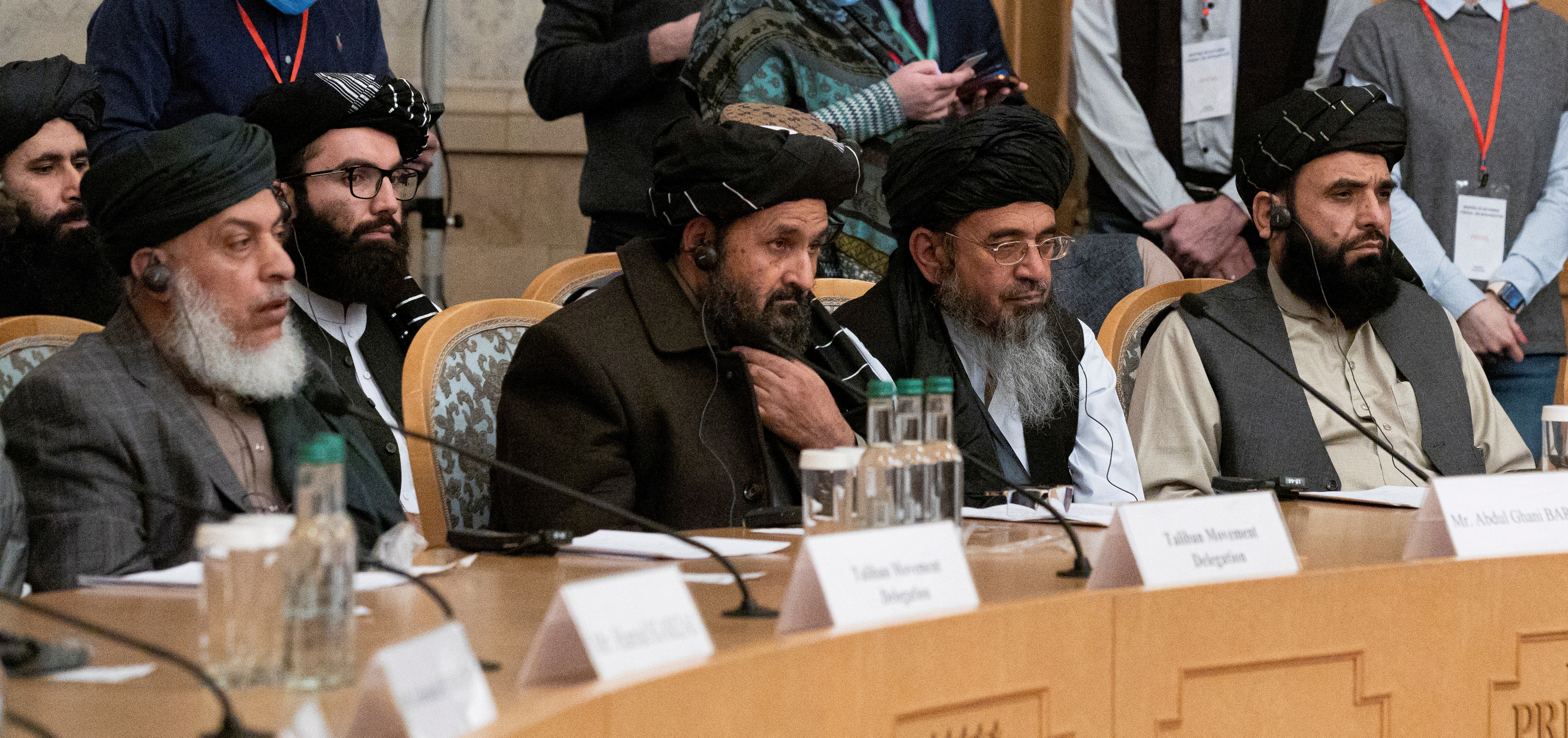Mullah Abdul Ghani Baradar, the Taliban's deputy leader and negotiator, and other delegation members attend the Afghan peace conference in Moscow, Russia March 18, 2021. Alexander Zemlianichenko/Pool via REUTERS/File Photo