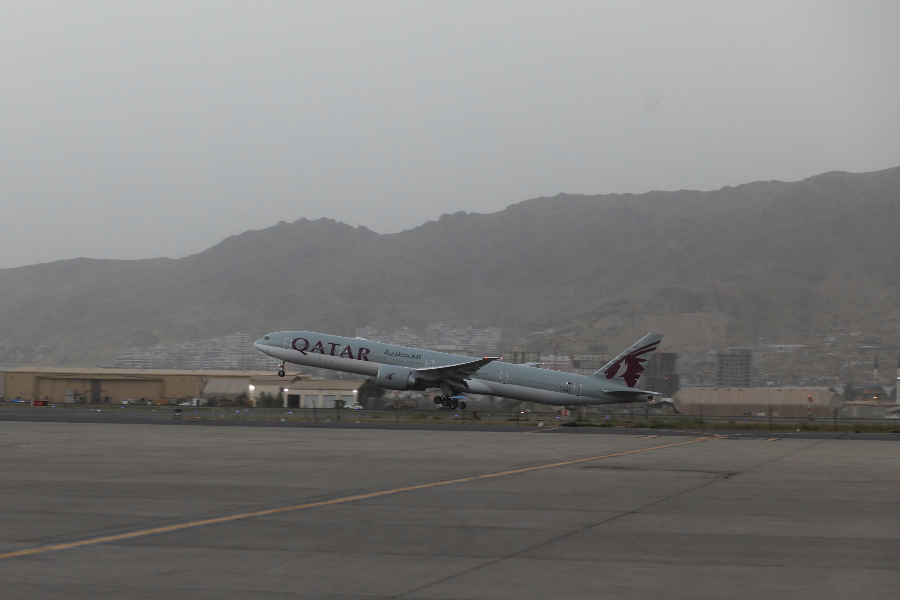 A Qatar Airways flight takes off from the international airport in Kabul, Afghanistan, September 10, 2021. WANA (West Asia News Agency) via REUTERS