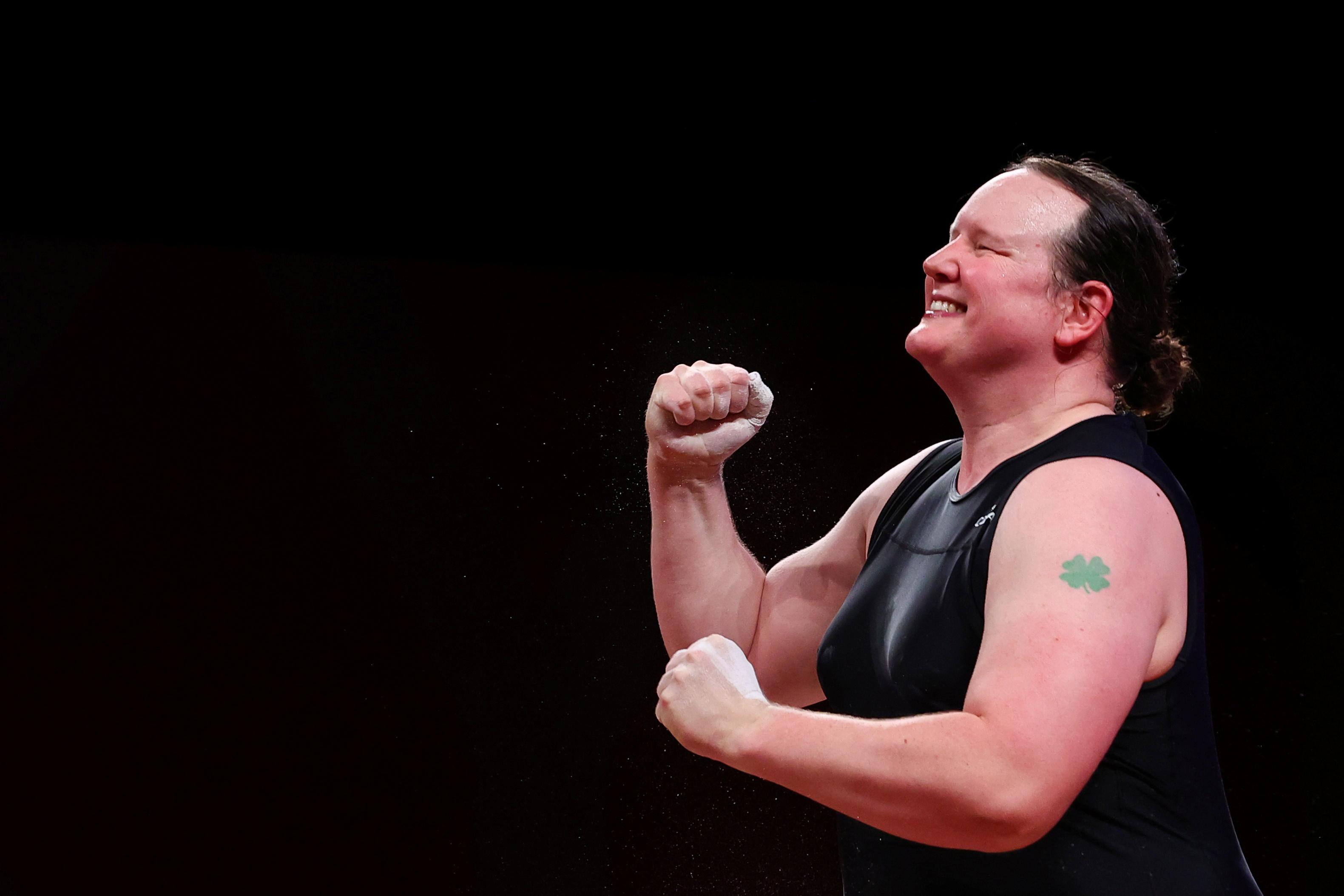 Tokyo 2020 Olympics - Weightlifting - Women's +87kg - Group A - Tokyo International Forum, Tokyo, Japan - August 2, 2021. Laurel Hubbard of New Zealand celebrates after a lift. REUTERS/Edgard Garrido