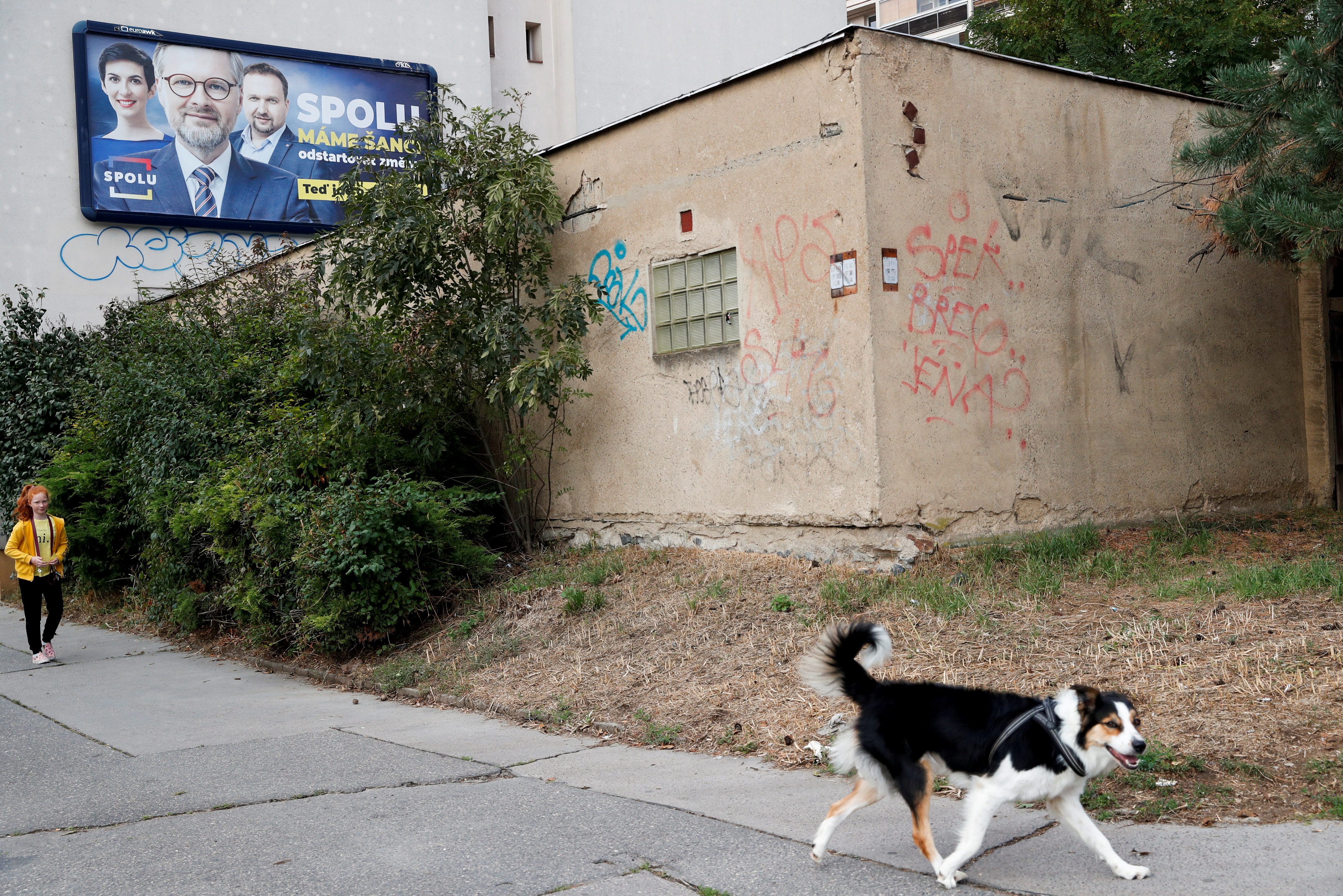 An election billboard for the leader of Civic Democratic Party (ODS) and Together (SPOLU) coalition candidate Petr Fiala is seen ahead of Czech parliamentary election in Prague, Czech Republic, October 7, 2021. REUTERS/Bernadett Szabo/File Photo