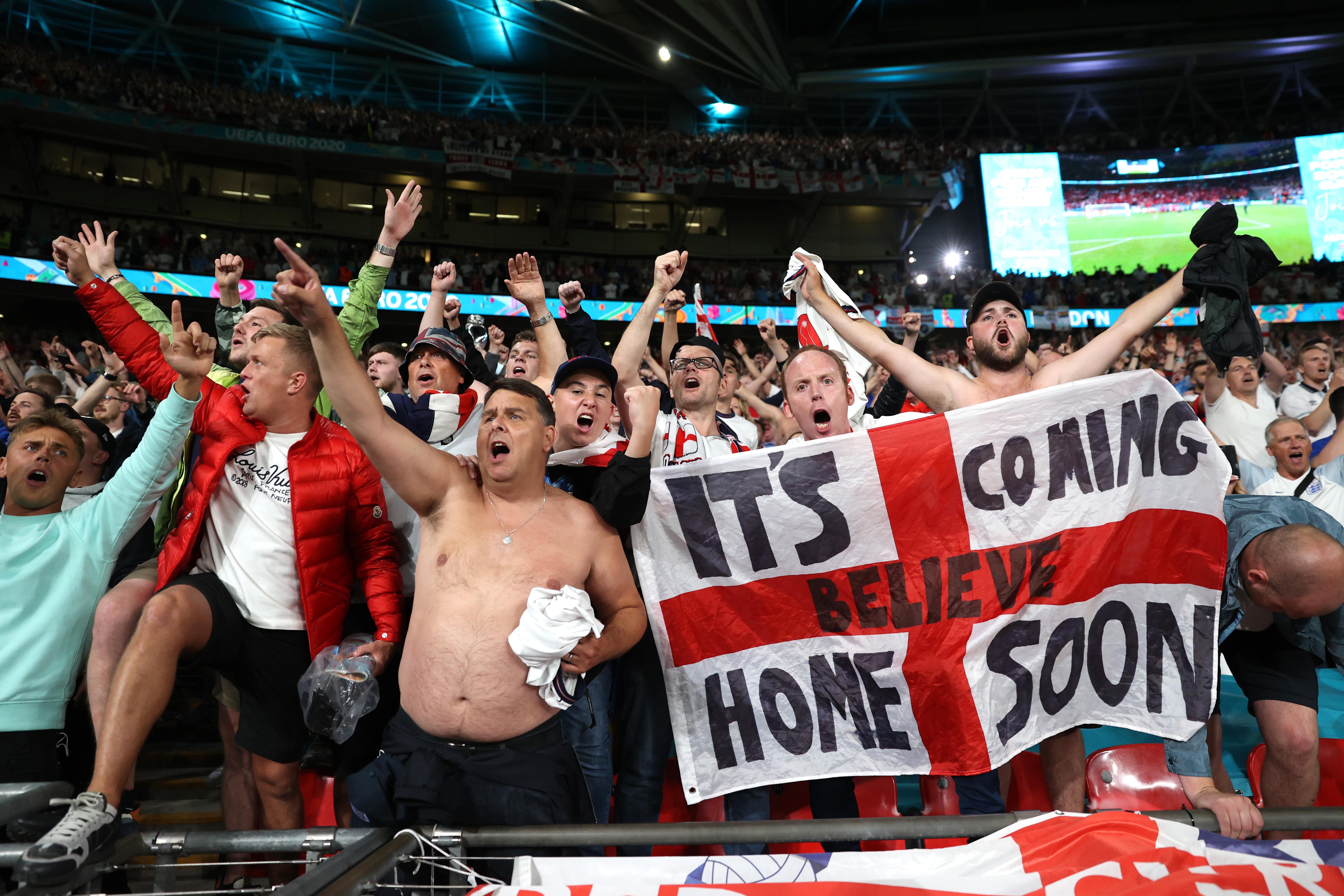Soccer Football - Euro 2020 - Semi Final - England v Denmark - Wembley Stadium, London, Britain - July 7, 2021 England fans celebrate after the match Pool via REUTERS/Carl Recine