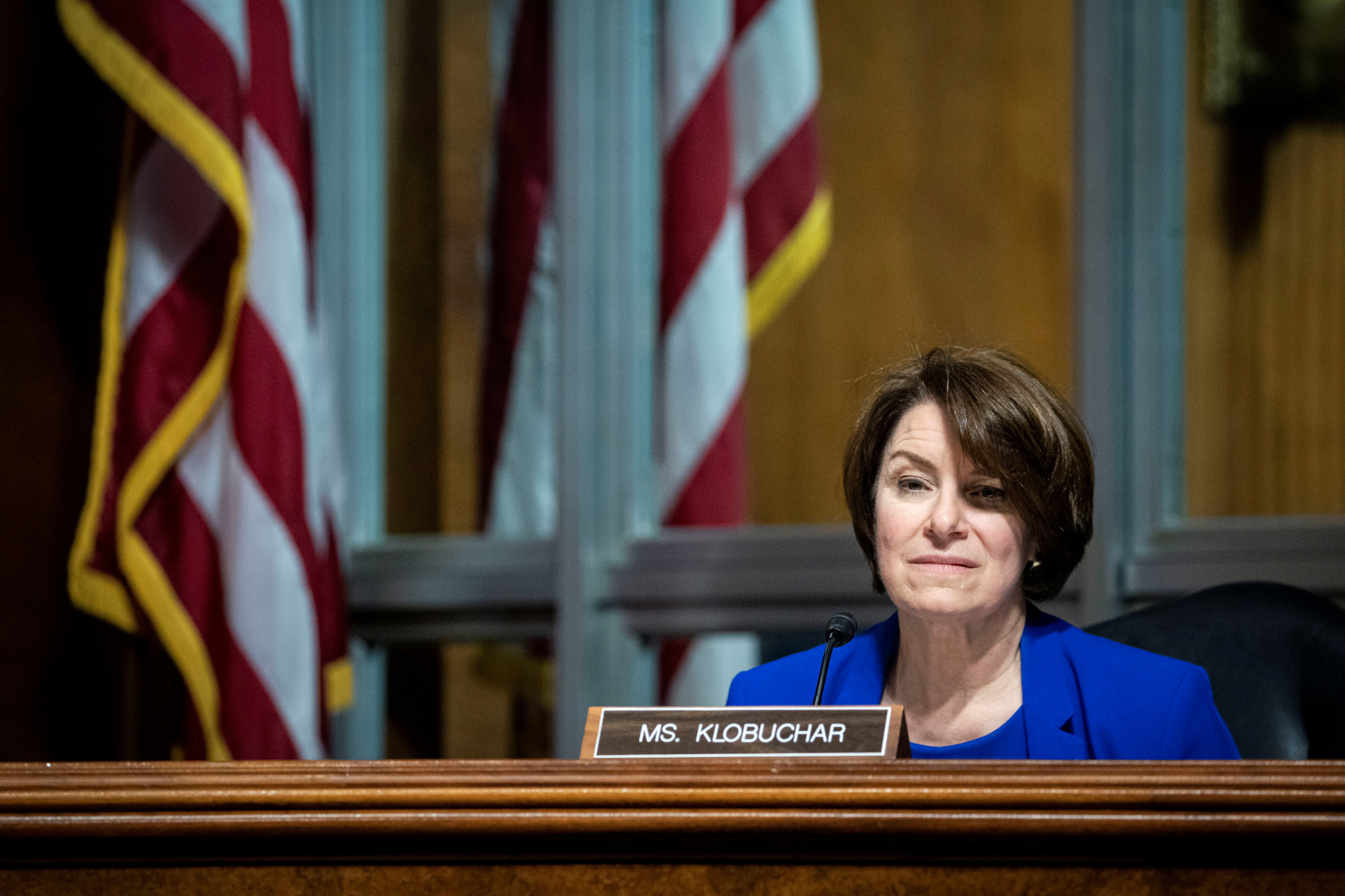 U.S. Senator Amy Klobuchar listens during a hearing of the Senate Judiciary Subcommittee on Privacy, Technology, and the Law, in Washington, D.C., U.S., April 27, 2021. Al Drago/Pool via REUTERS/File Photo