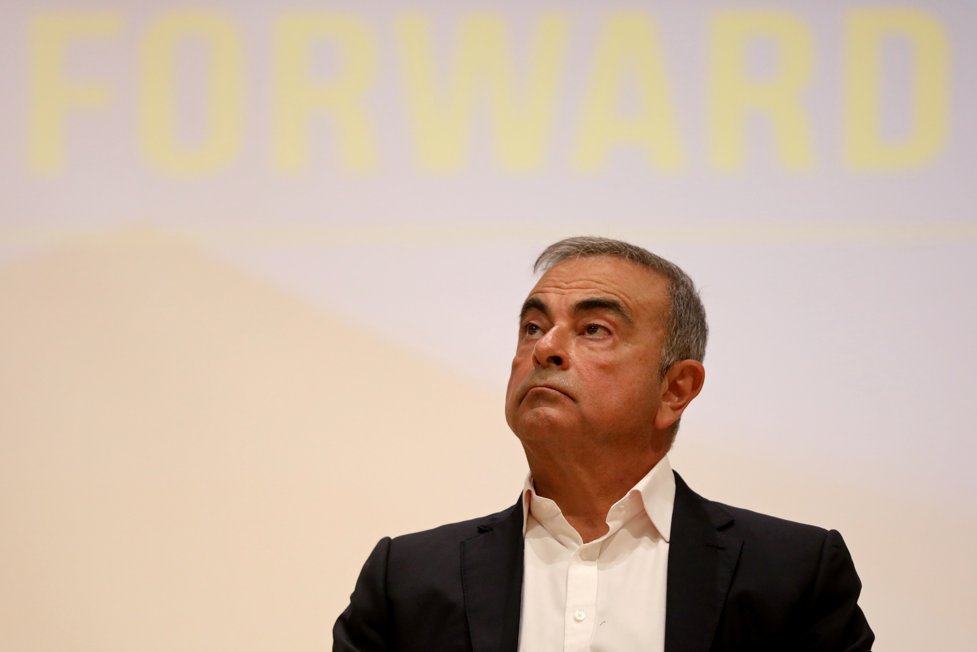Carlos Ghosn, the former Nissan and Renault chief executive, looks on during a news conference at the Holy Spirit University of Kaslik, in Jounieh, Lebanon September 29, 2020. REUTERS/Mohamed Azakir