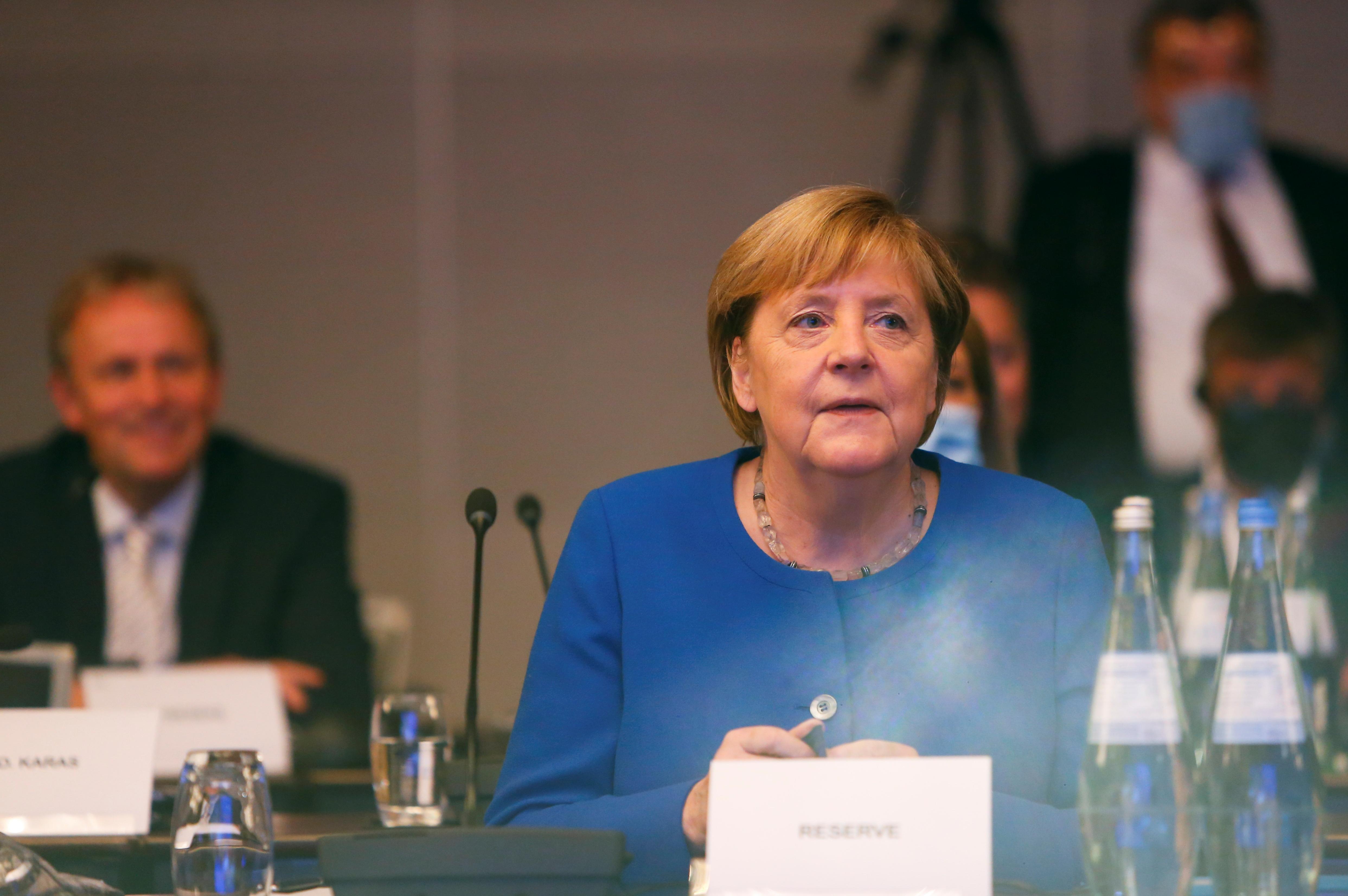 German Chancellor Angela Merkel attends the European People's Party (EPP) meeting in Berlin, Germany, September 9, 2021. REUTERS/Michele Tantussi