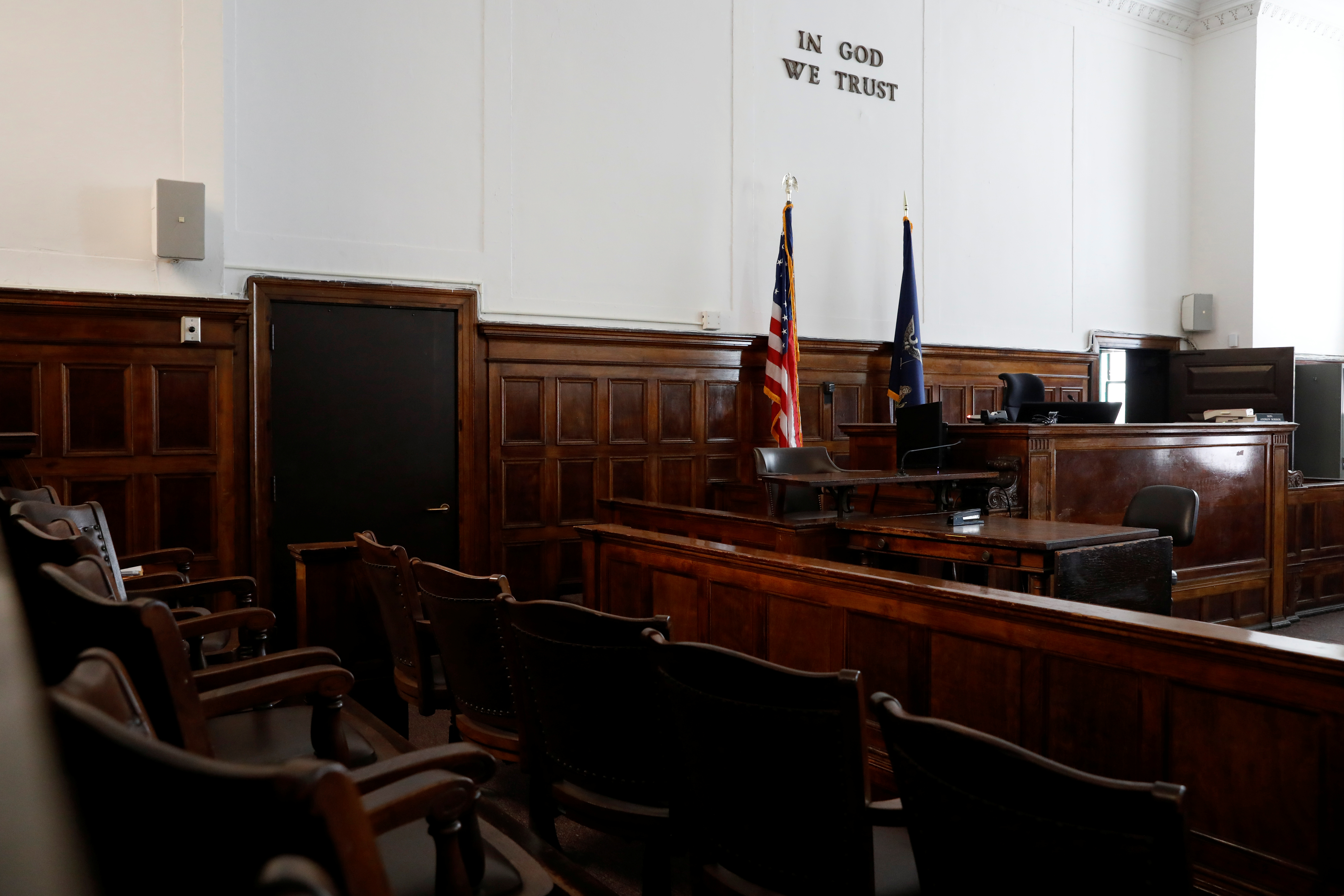 An empty jury box is seen at the New York State Civil Supreme Court in Manhattan, New York City, U.S. REUTERS/Andrew Kelly