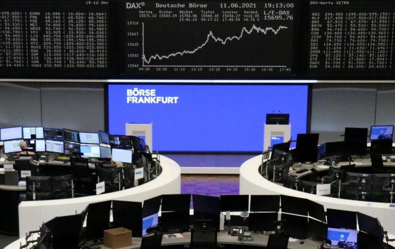 The German share price index DAX graph is pictured at the stock exchange in Frankfurt, Germany, June 11, 2021.    REUTERS/Staff
