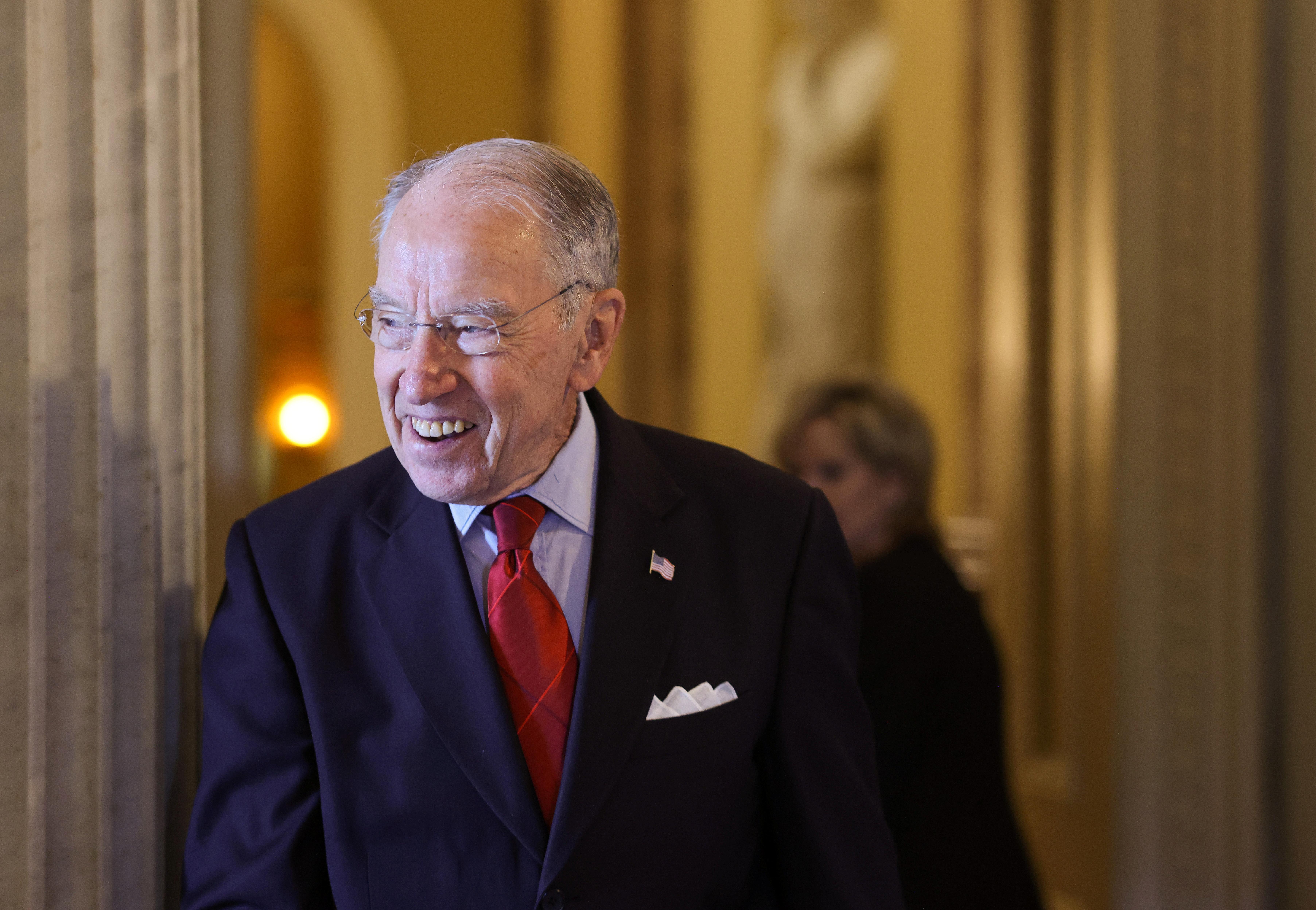 Senator Chuck Grassley (R-IA) leaves the Senate floor at the United States Capitol in Washington, U.S., August 9, 2021. REUTERS/Evelyn Hockstein