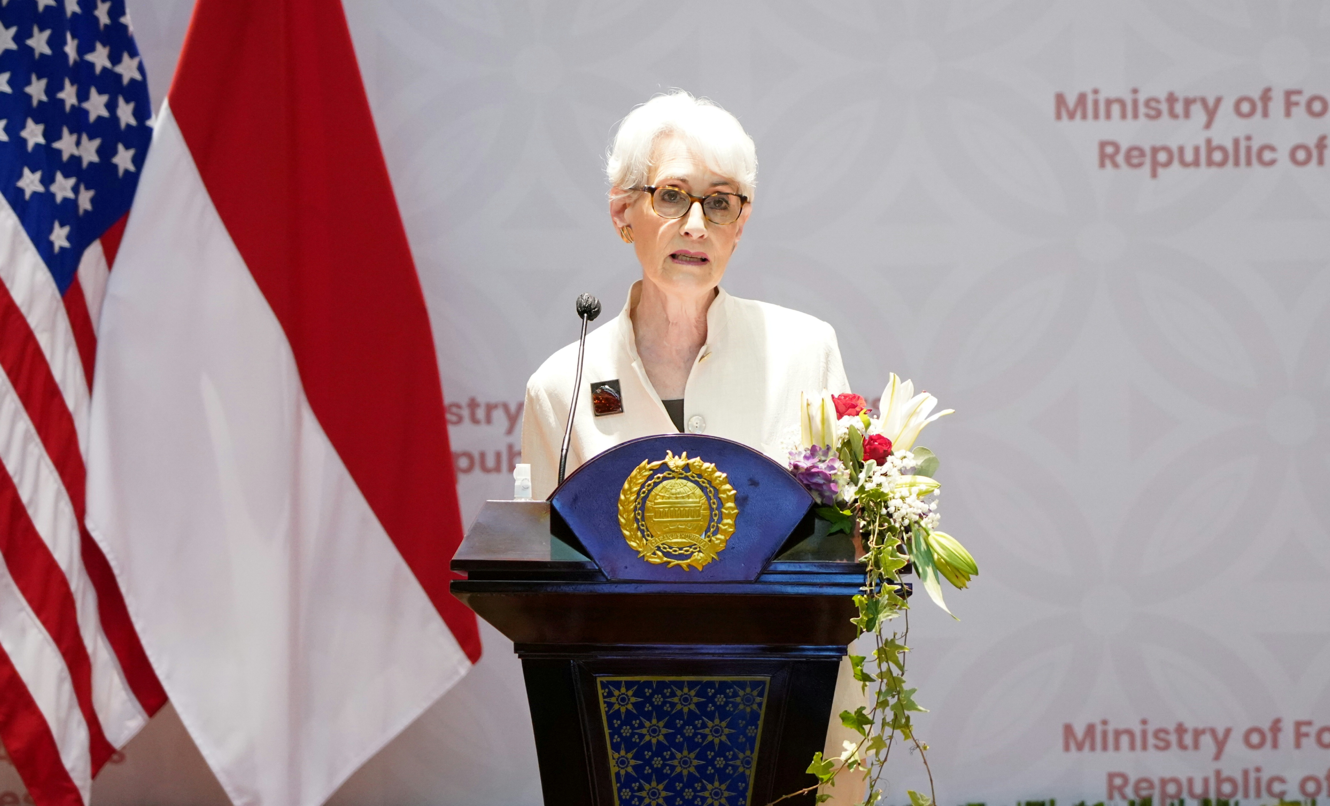 U.S. Deputy Secretary of State Wendy Sherman speaks during a press briefing with Indonesian Deputy Foreign Minister Mahendra Siregar following their meeting in Jakarta, Indonesia, May 31, 2021. Courtesy of Okta/Indonesia's Ministry of Foreign Affairs/Handout via REUTERS
