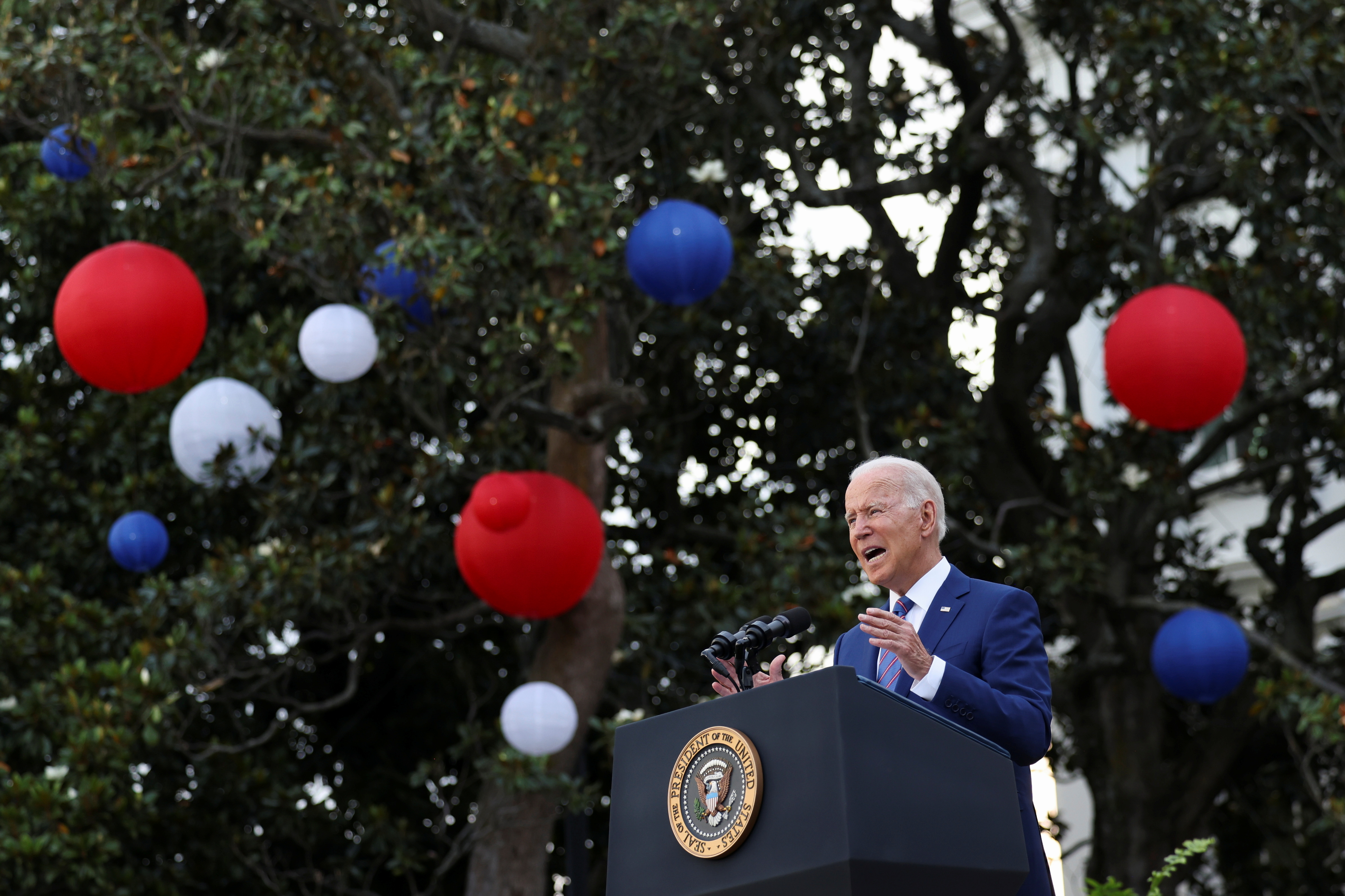 U.S. President Joe Biden delivers remarks at the White House at a celebration of Independence Day in Washington, U.S., July 4, 2021. REUTERS/Evelyn Hockstein