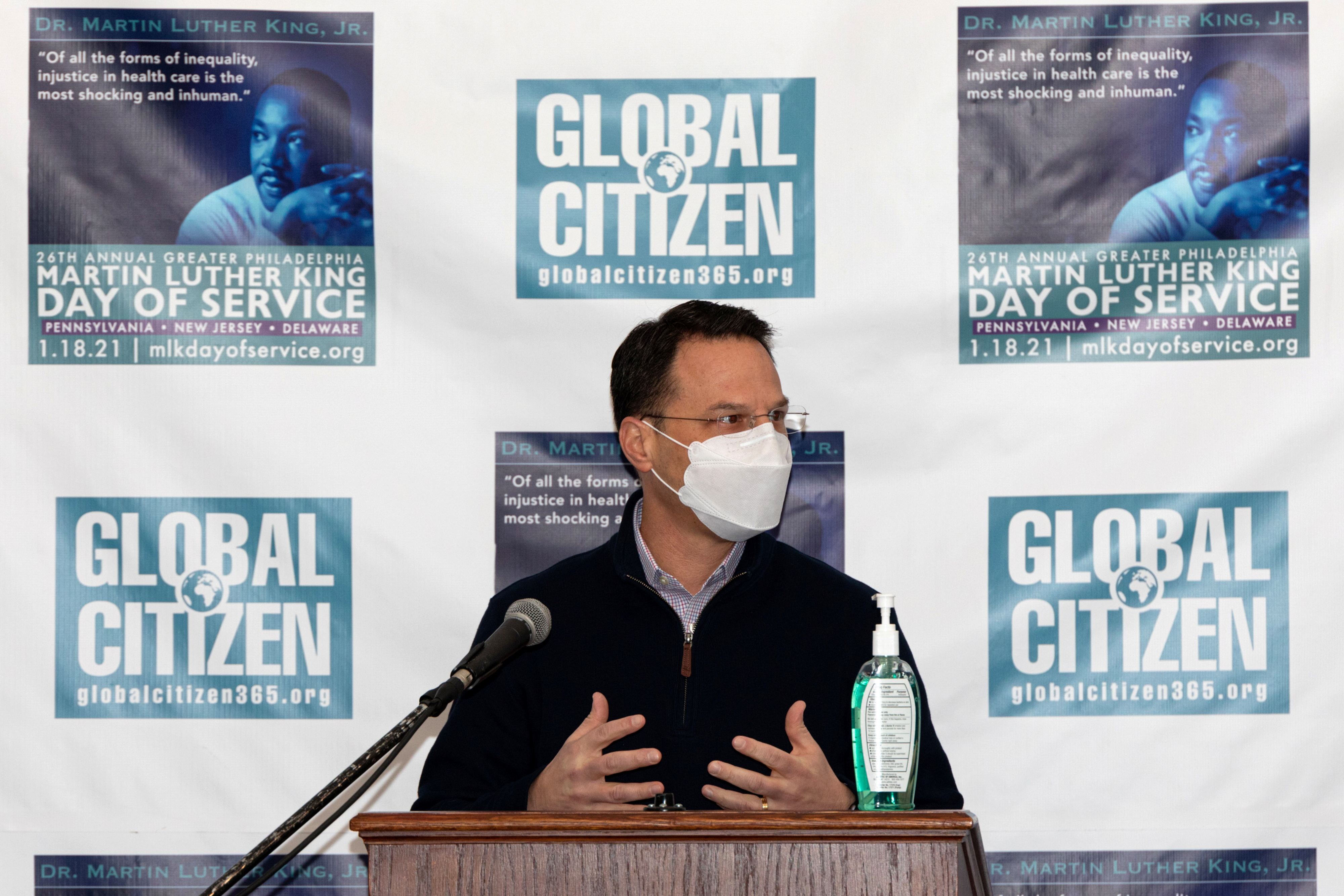 Pennsylvania Attorney General Josh Shapiro speaks at the opening ceremony at Girard College for the Greater Philadelphia King Day of Service before a free drive-through coronavirus disease (COVID-19) testing event targeting underserved communities on Martin Luther King day in Philadelphia, Pennsylvania, U.S., January 18, 2021.  REUTERS/Hannah Beier