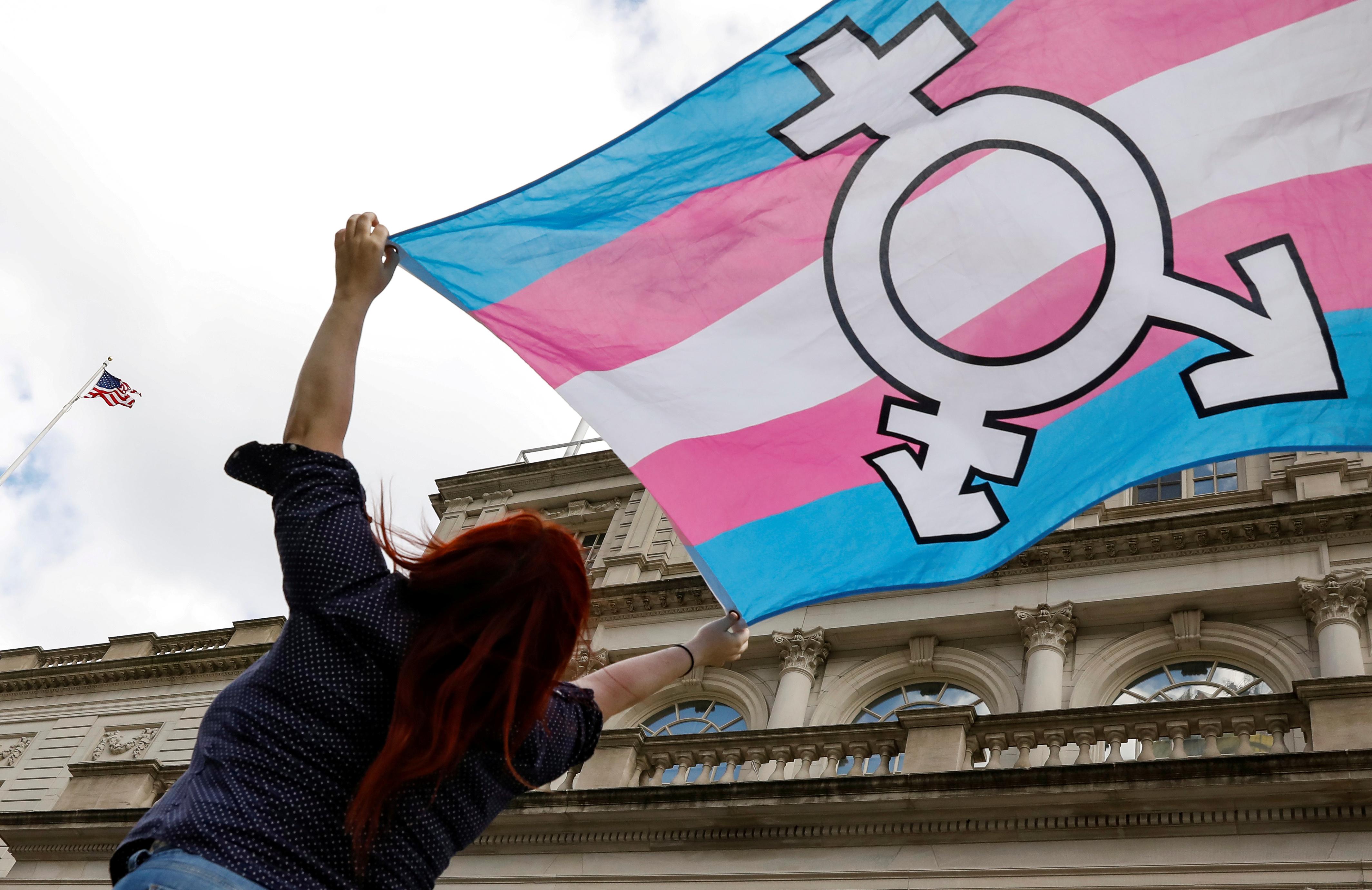 Transgender rights rally, New York City.  REUTERS/Brendan McDermid