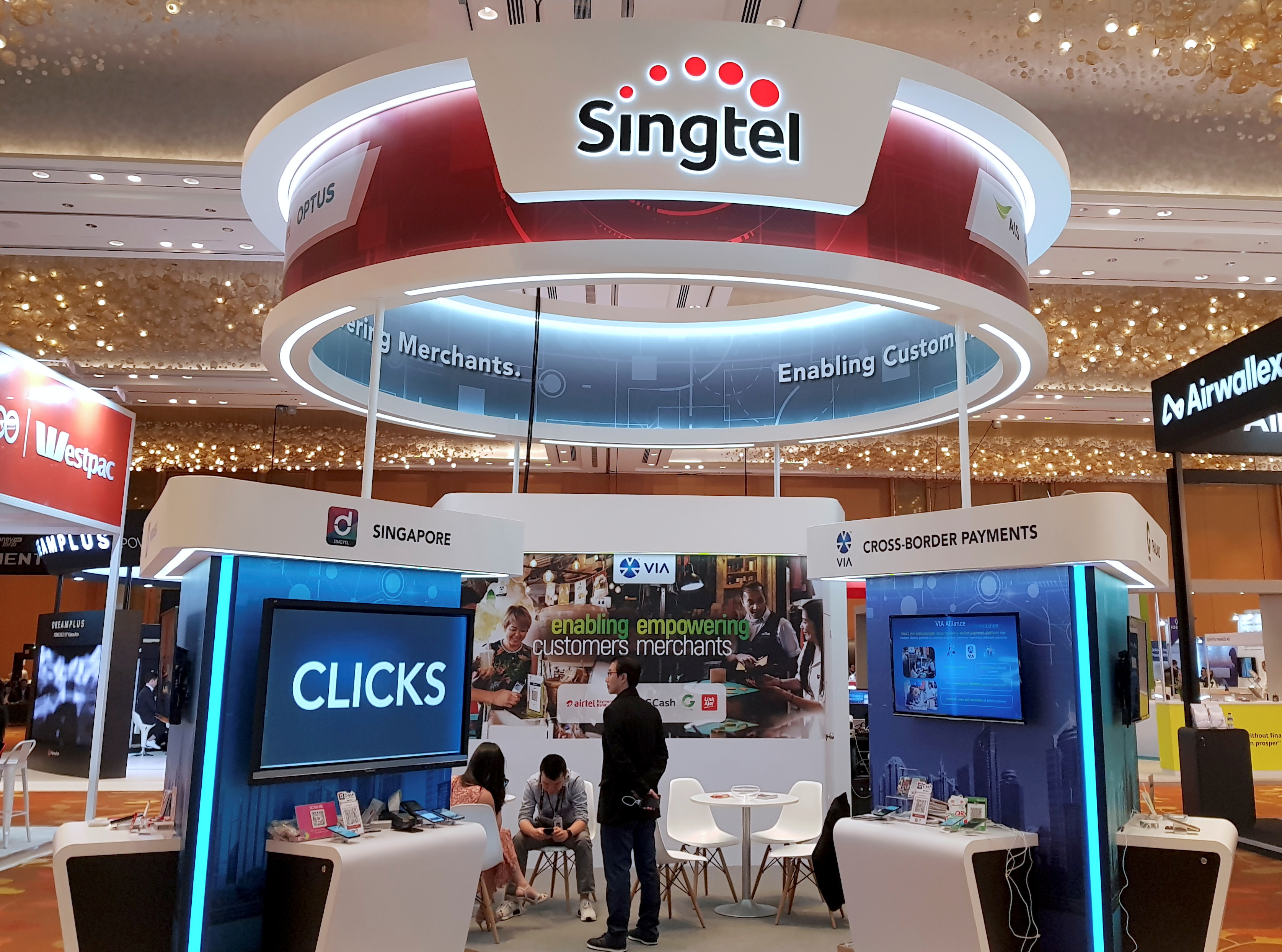 A Singtel booth is pictured at the Money 20/20 Asia Fintech Trade Show in Singapore March 21, 2019. Picture taken March 21, 2019. REUTERS/Anshuman Daga