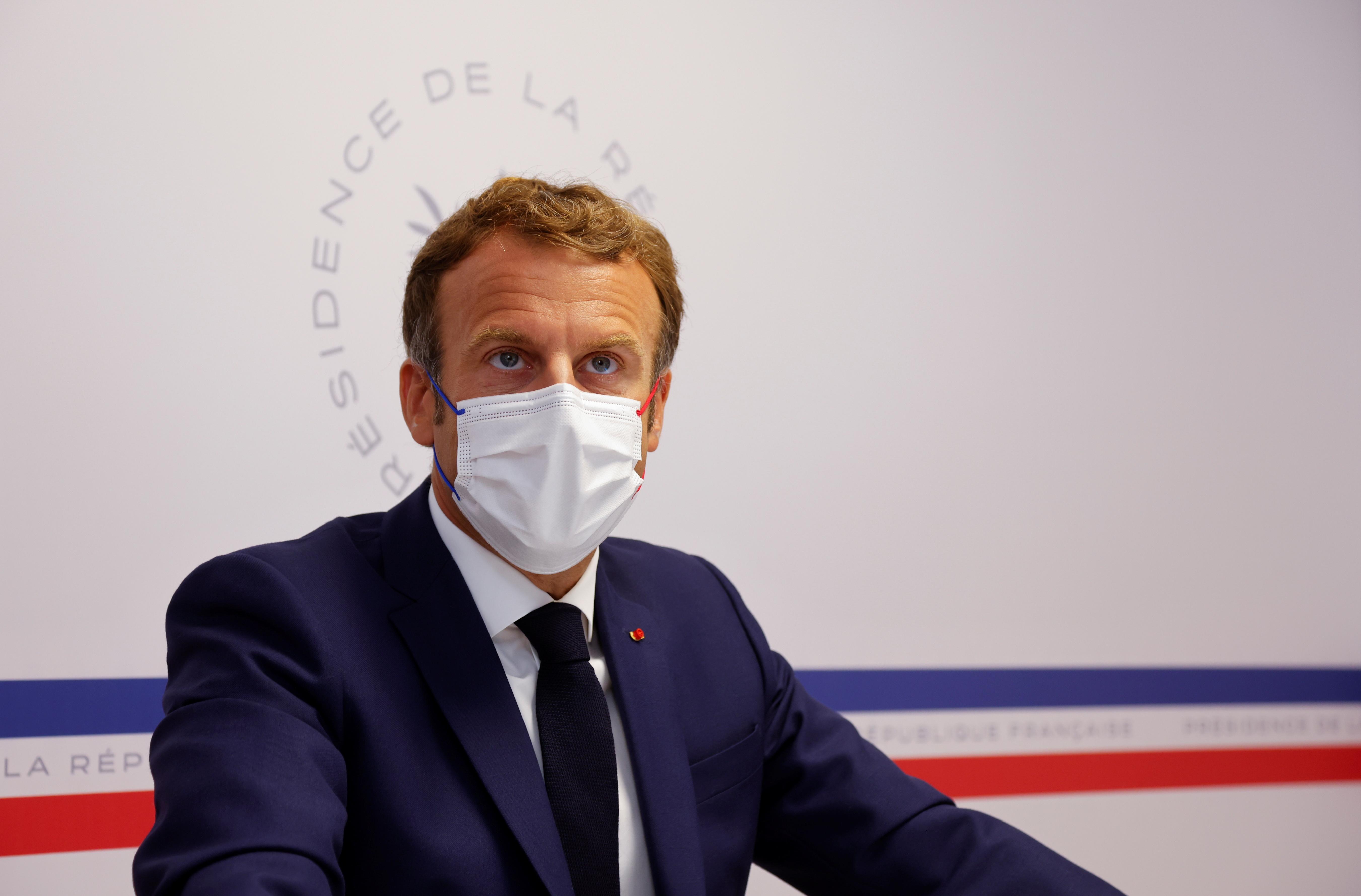French President Emmanuel Macron attends a Defense Council at Fort de Bregancon in Bormes-les-Mimosas, France August 11, 2021.  REUTERS/Eric Gaillard/Pool