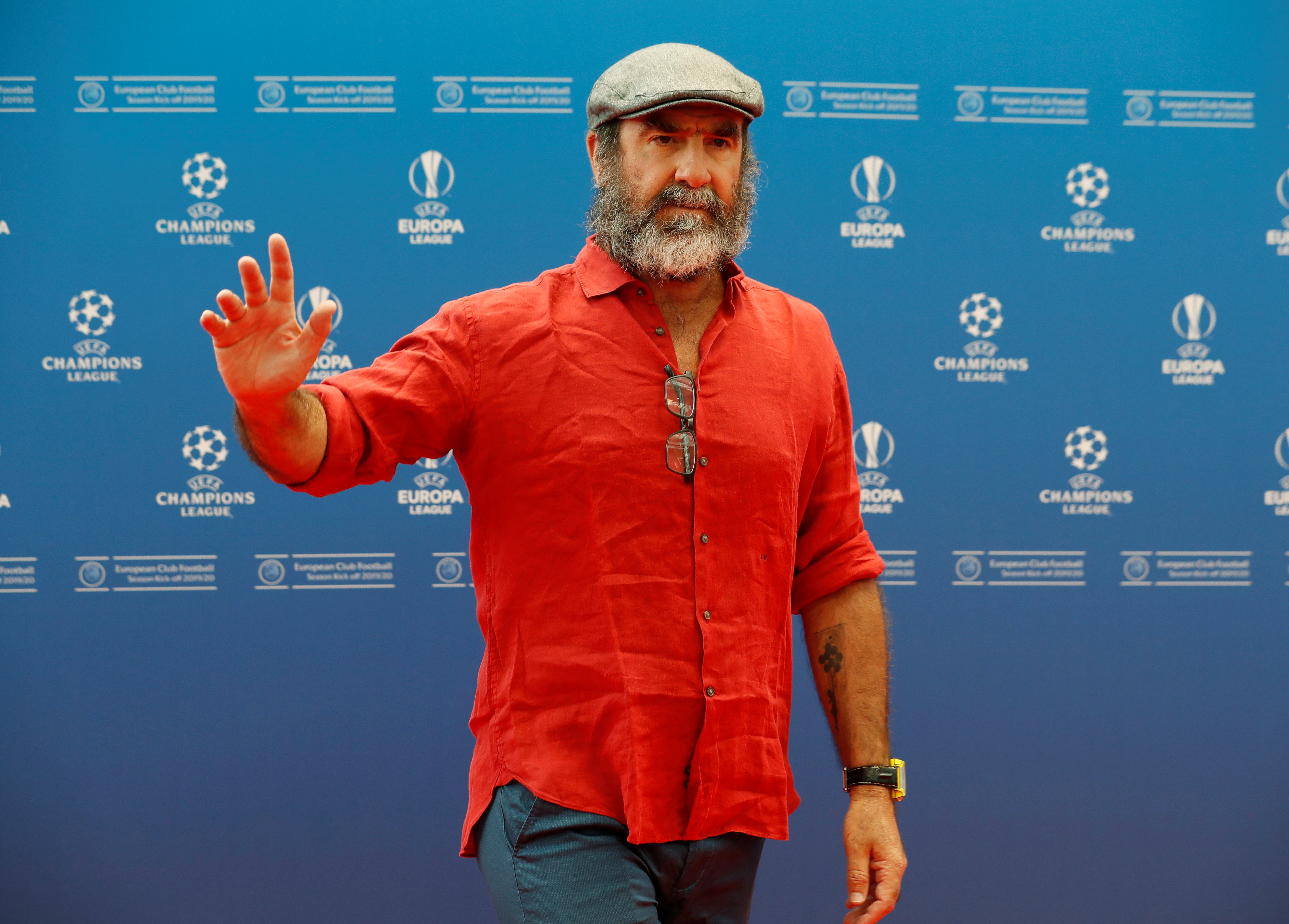Soccer Football - Champions League Group Stage draw - Grimaldi Forum, Monaco - August 29, 2019   Eric Cantona before the draw   REUTERS/Eric Gaillard