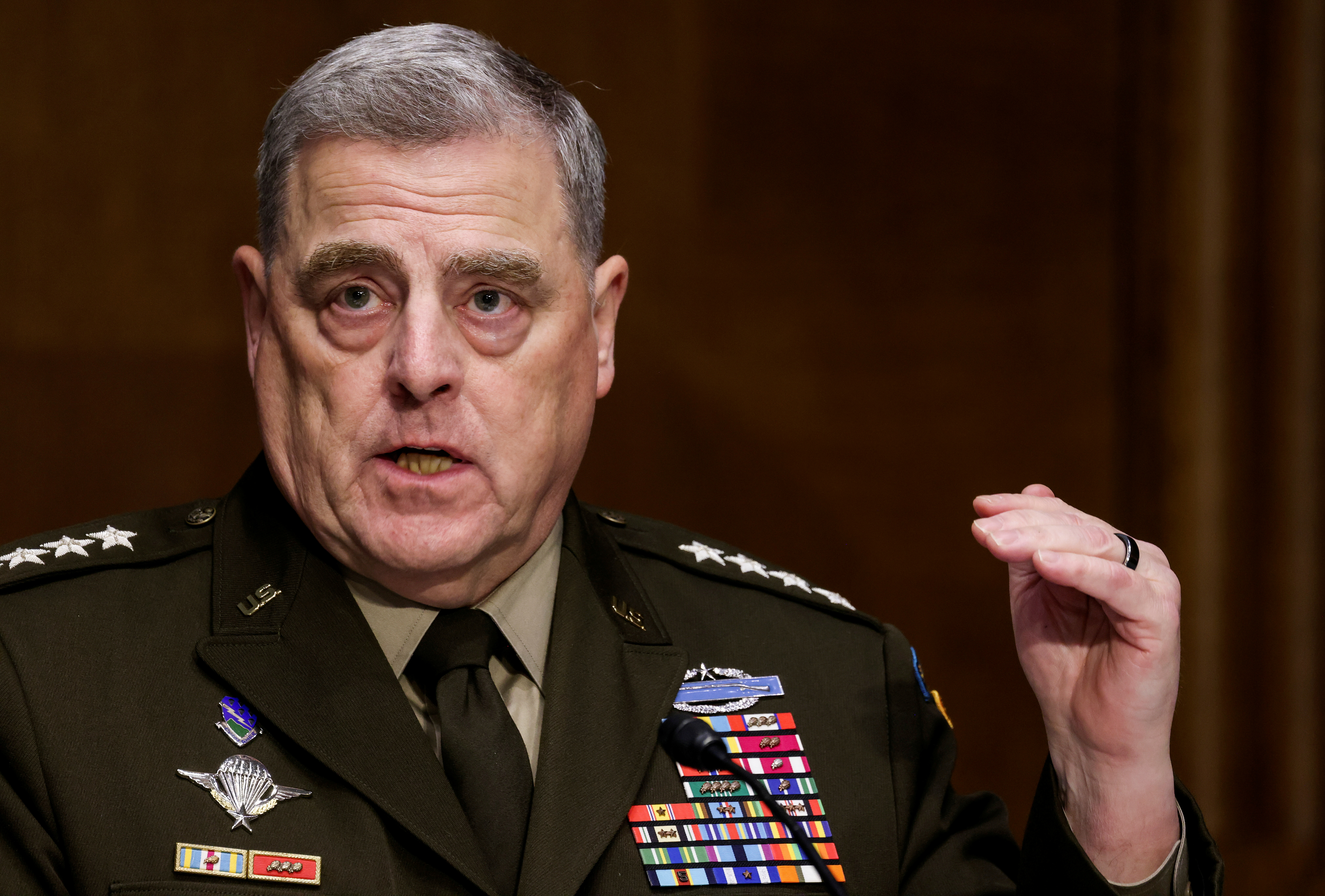 Joint Chiefs of Staff Chair Gen. Mark Milley testifies on the defense department?s budget request during a Senate Appropriations Committee hearing on Capitol Hill in Washington, U.S., June 17, 2021. REUTERS/Evelyn Hockstein/Pool/File Photo