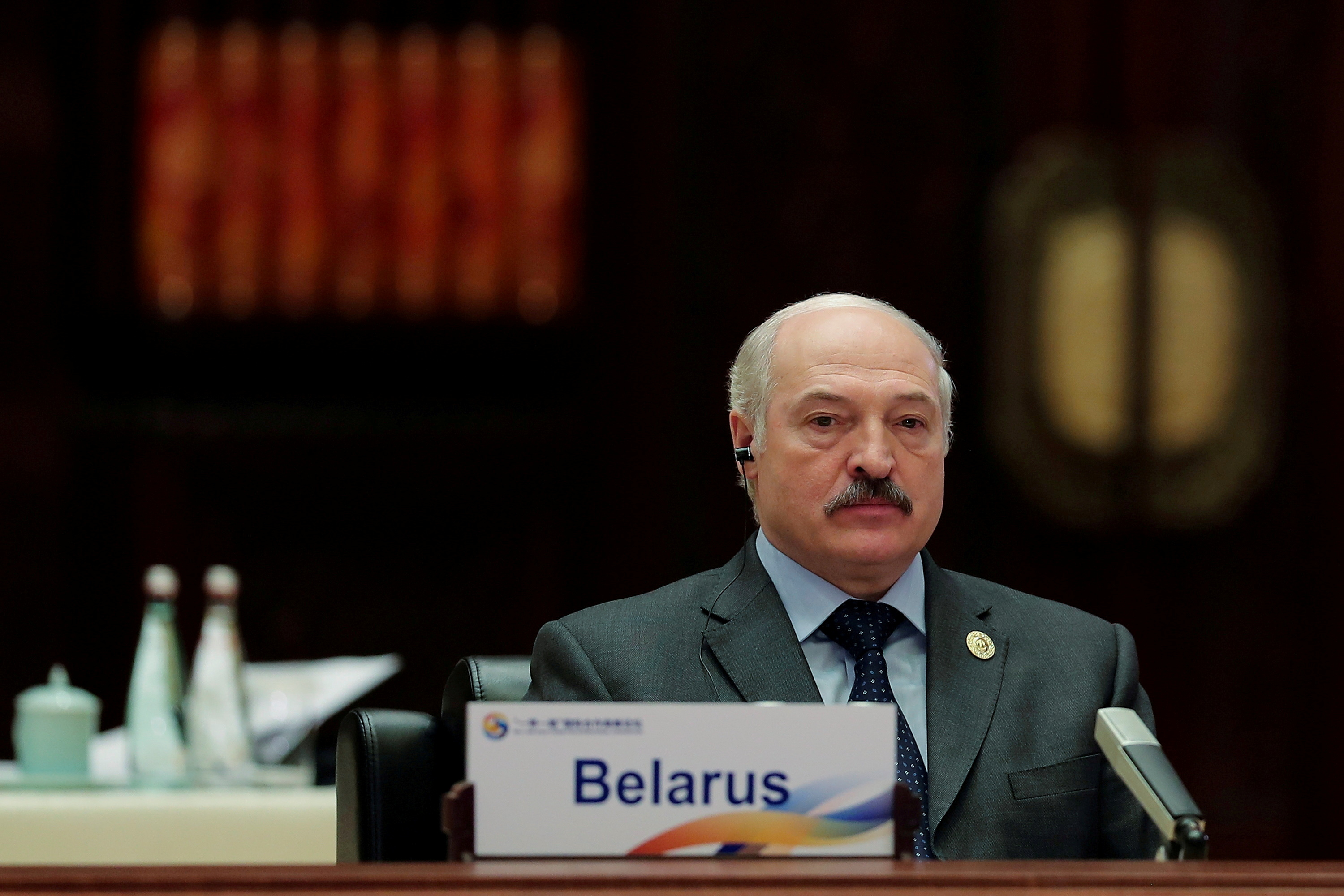 Belarus President Alexander Lukashenko attends the Roundtable Summit Phase One Sessions of Belt and Road Forum at the International Conference Center in Yanqi Lake on May 15, 2017 in Beijing, China.   REUTERS/Lintao Zhang/Pool/File Photo