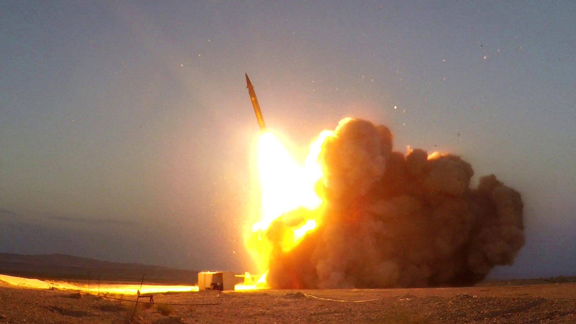 A missile unveiled by Iran is launched in an unknown location in Iran in this picture received by Reuters on August 20, 2020. WANA (West Asia News Agency) via REUTERS