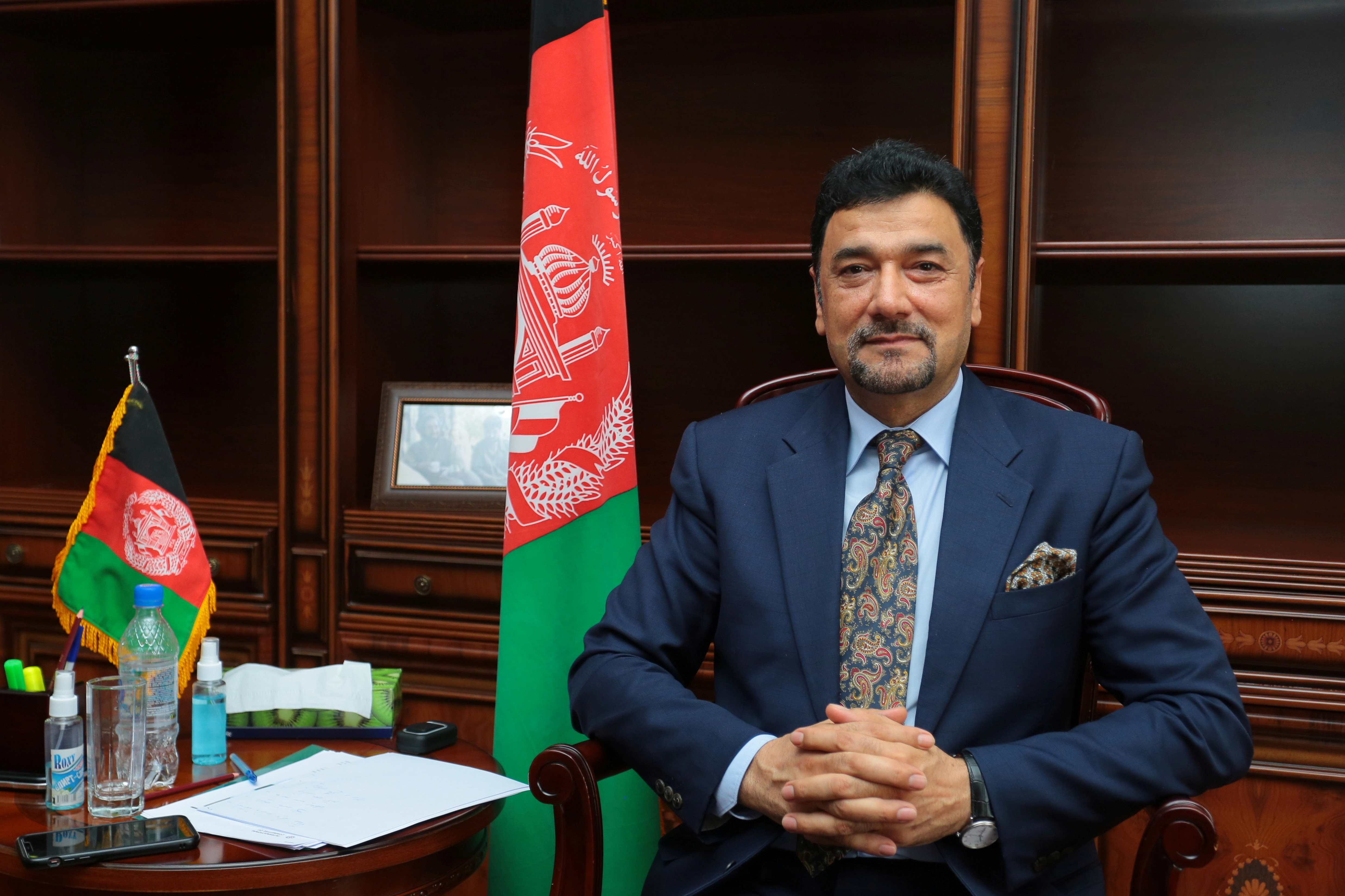 Afghan ambassador to Tajikistan Mohammad Zahir Aghbar attends an interview with Reuters in Dushanbe, Tajikistan August 18, 2021. REUTERS/Didor Sadulloev/File Photo
