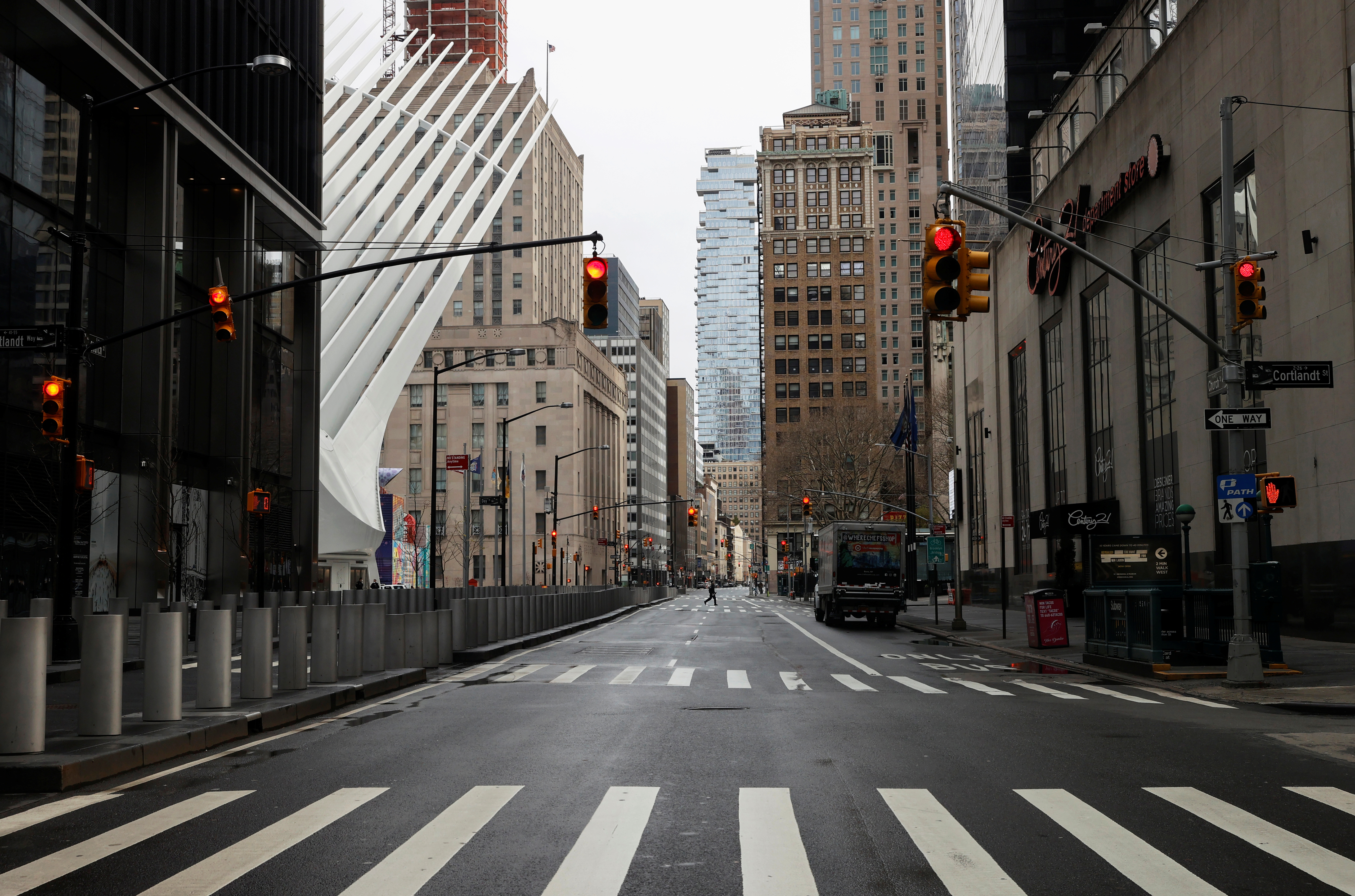 A nearly deserted Church Street in the financial district in lower Manhattan is seen during the outbreak of the coronavirus disease (COVID-19) in New York City, New York, U.S., April 3, 2020. REUTERS/Mike Segar