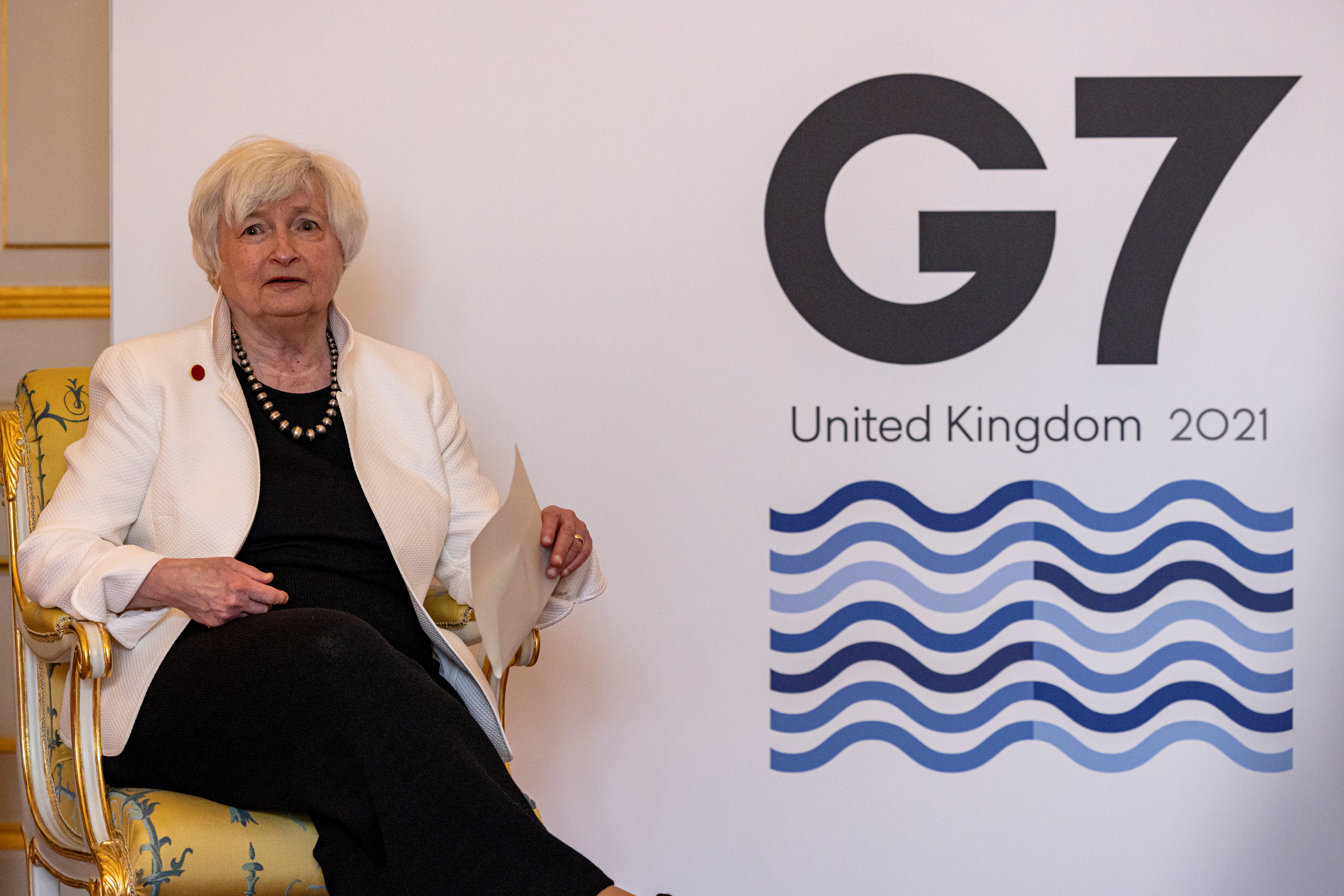 U.S. Treasury Secretary Janet Yellen reacts at Lancaster House during a finance ministers' meeting ahead of the G7 Summit, in London, Britain June 5, 2021. Rob Pinney