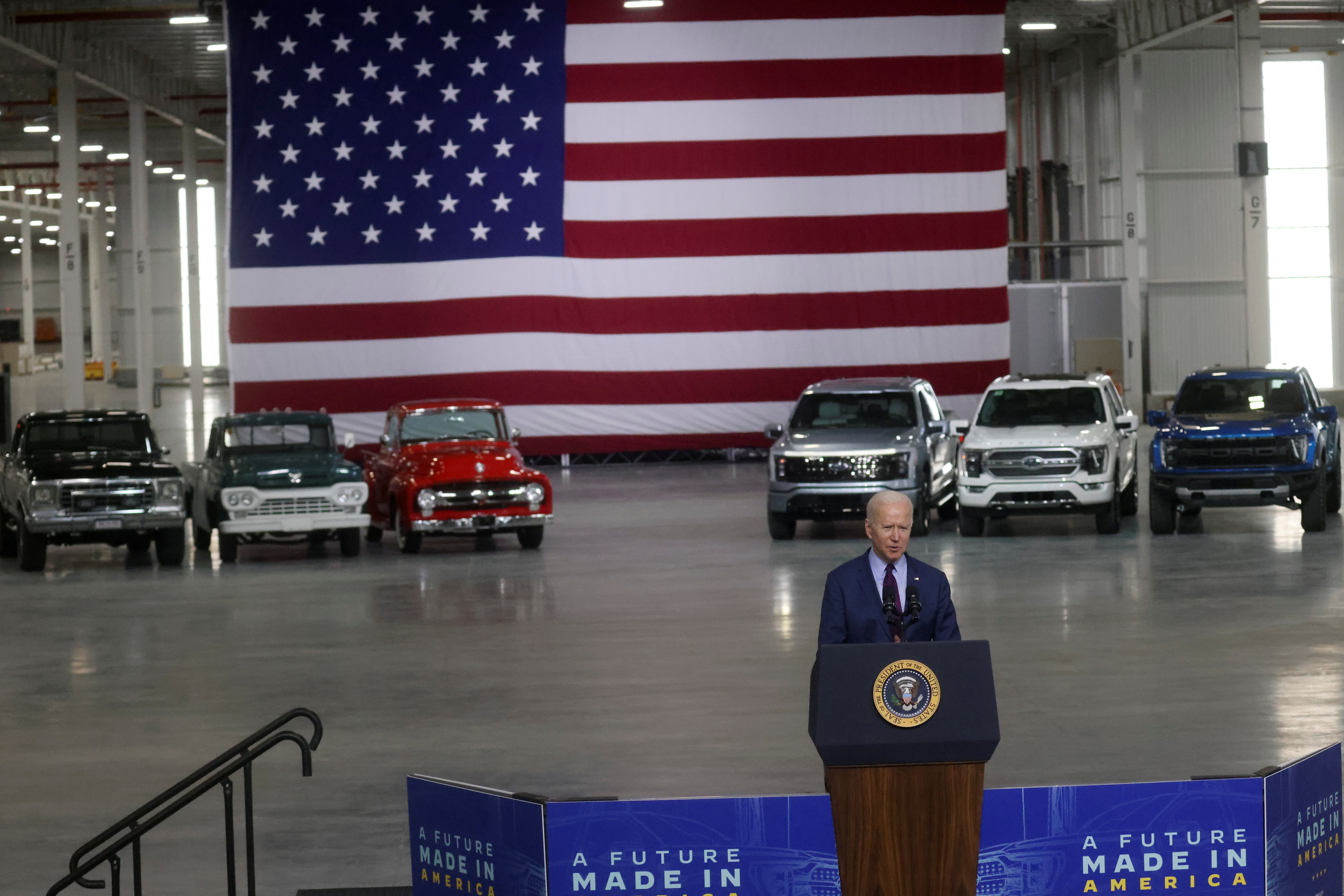 U.S. President Joe Biden delivers remarks after touring Ford Rouge Electric Vehicle Center in Dearborn, Michigan, U.S., May 18, 2021.  REUTERS/Leah Millis.