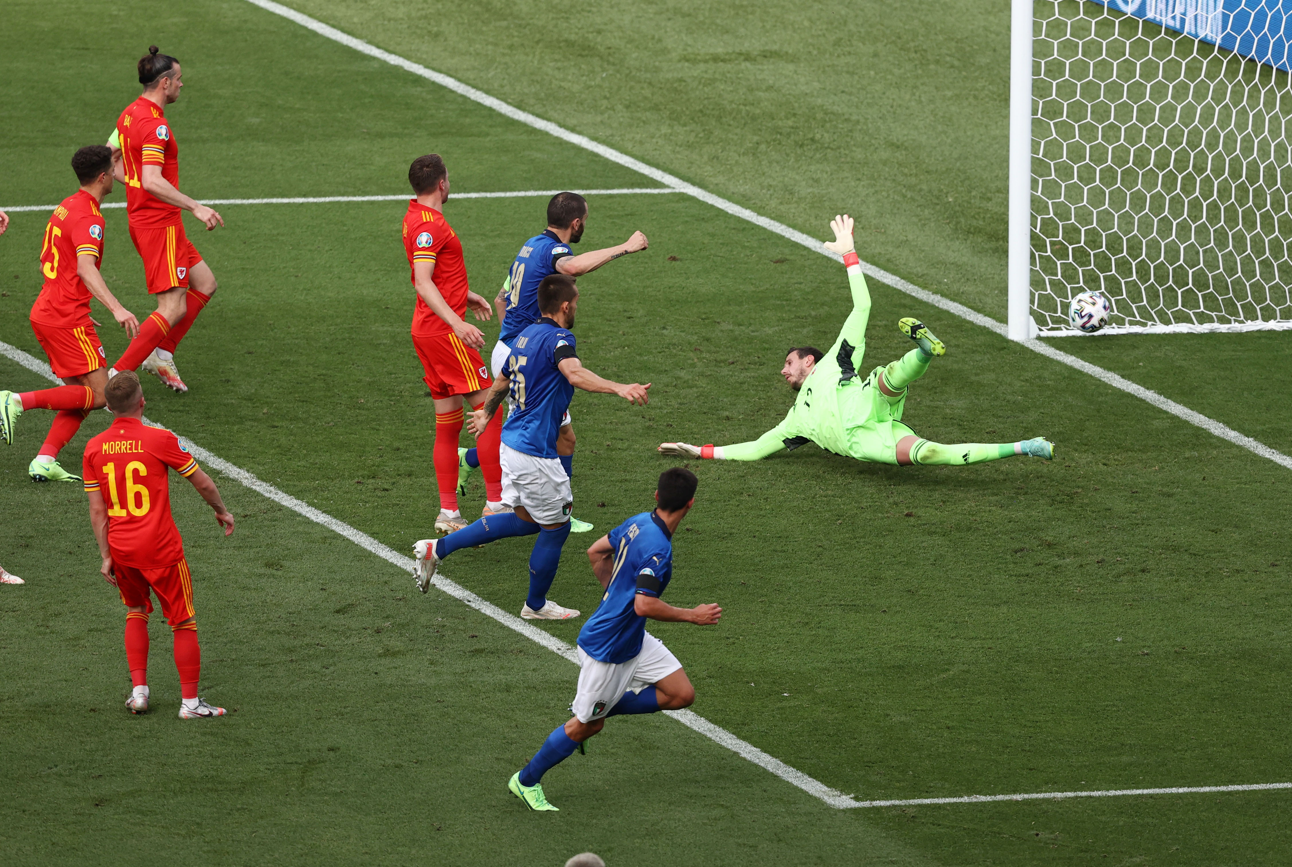 Soccer Football - Euro 2020 - Group A - Italy v Wales - Stadio Olimpico, Rome, Italy - June 20, 2021  Italy's Matteo Pessina scores their first goal Pool via REUTERS/Ryan Pierse