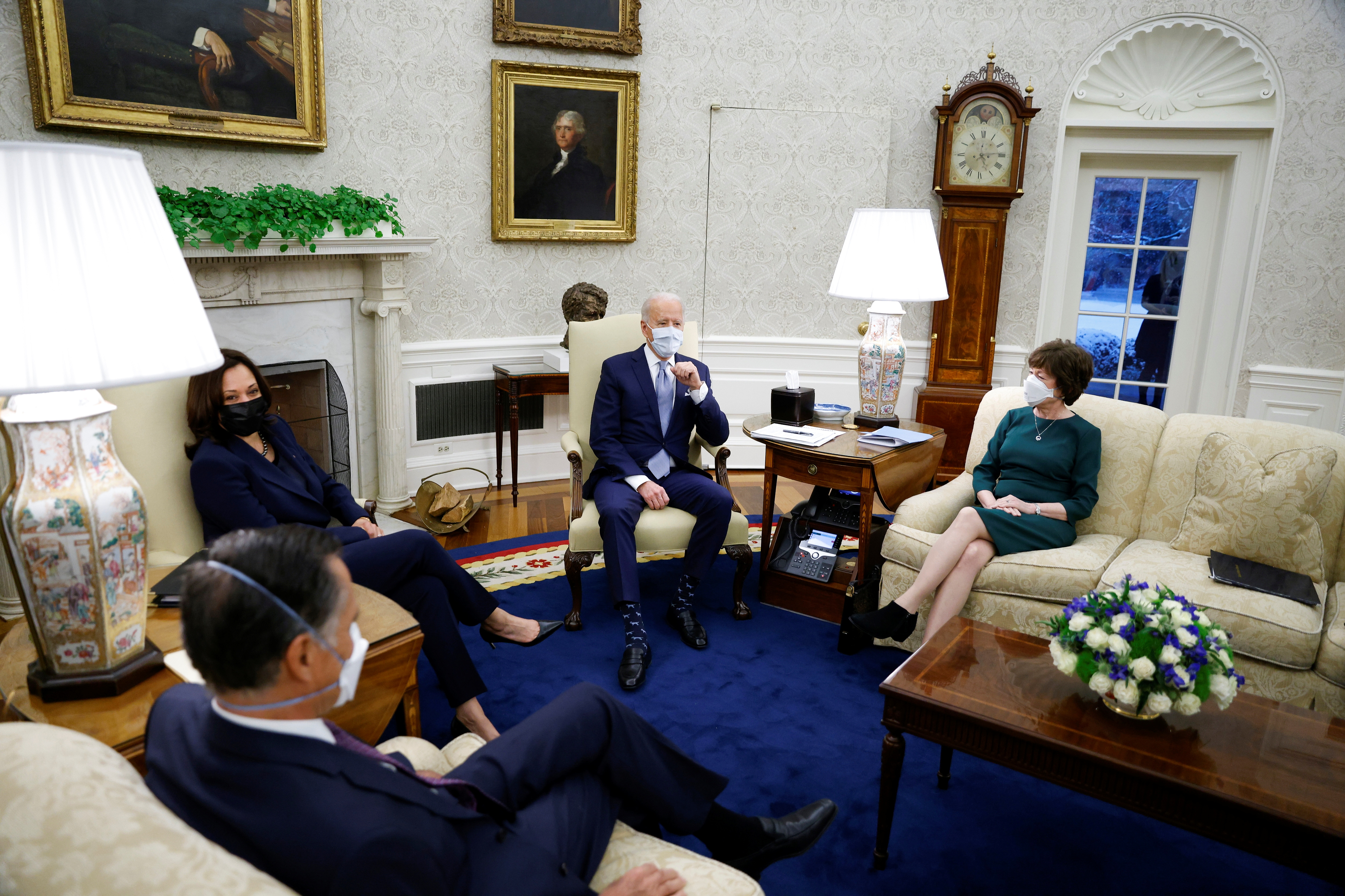 U.S. President Joe Biden and Vice President Kamala Harris meet with a group of Republican Senators to discuss coronavirus disease (COVID-19) federal aid legislation inside the Oval Office at the White House in Washington, U.S., February 1, 2021. REUTERS/Tom Brenner