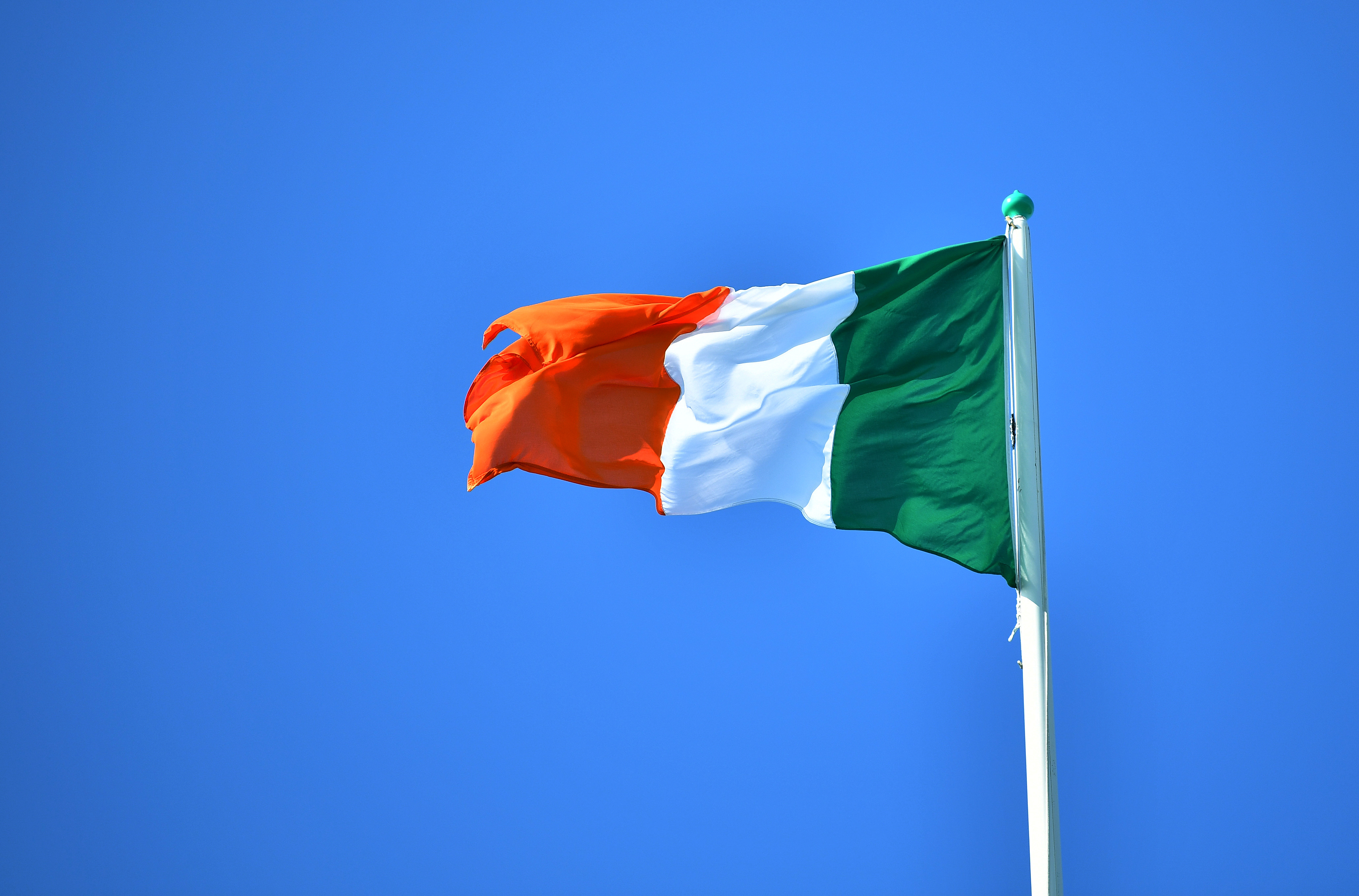 National flag of Ireland flies above the President's residence in Dublin, August 25, 2018. REUTERS/Dylan Martinez - RC12C3B40540