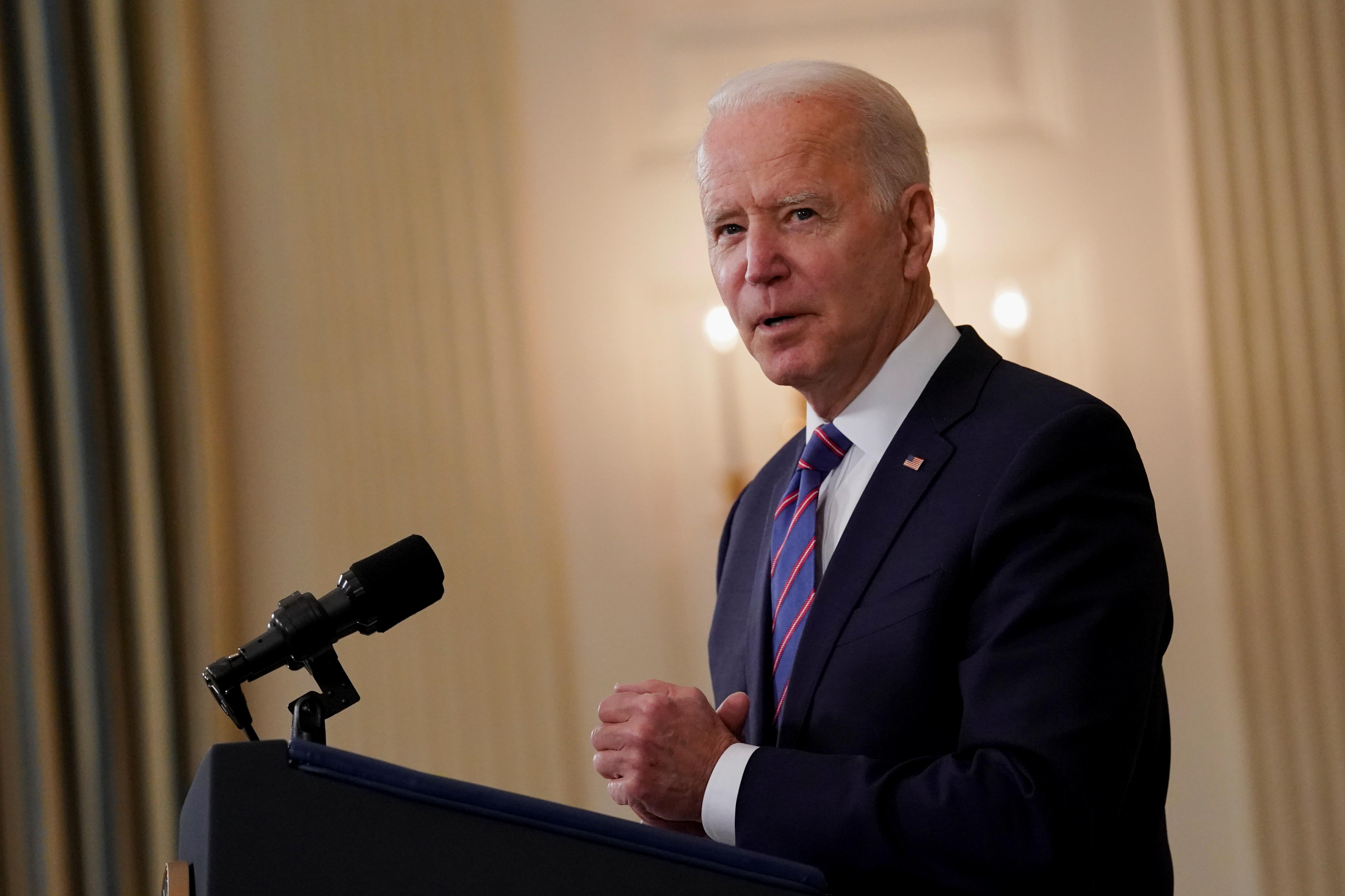 U.S. President Joe Biden delivers remarks on the Department of Labor