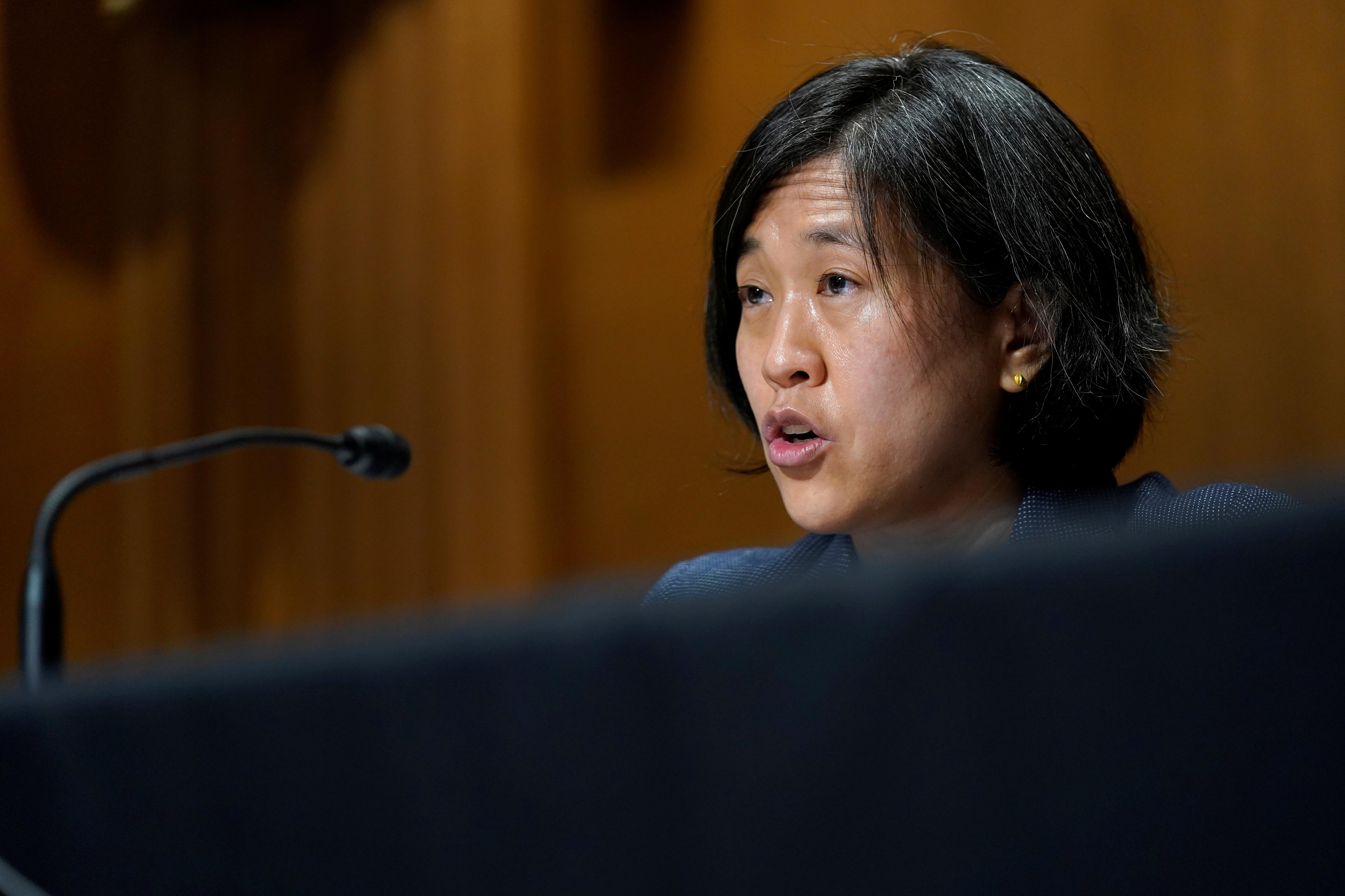 U.S. Trade Representative Katherine Tai testifies before the Senate Finance Committee on Capitol Hill in Washington, U.S., May 12, 2021.  Susan Walsh/Pool via REUTERS