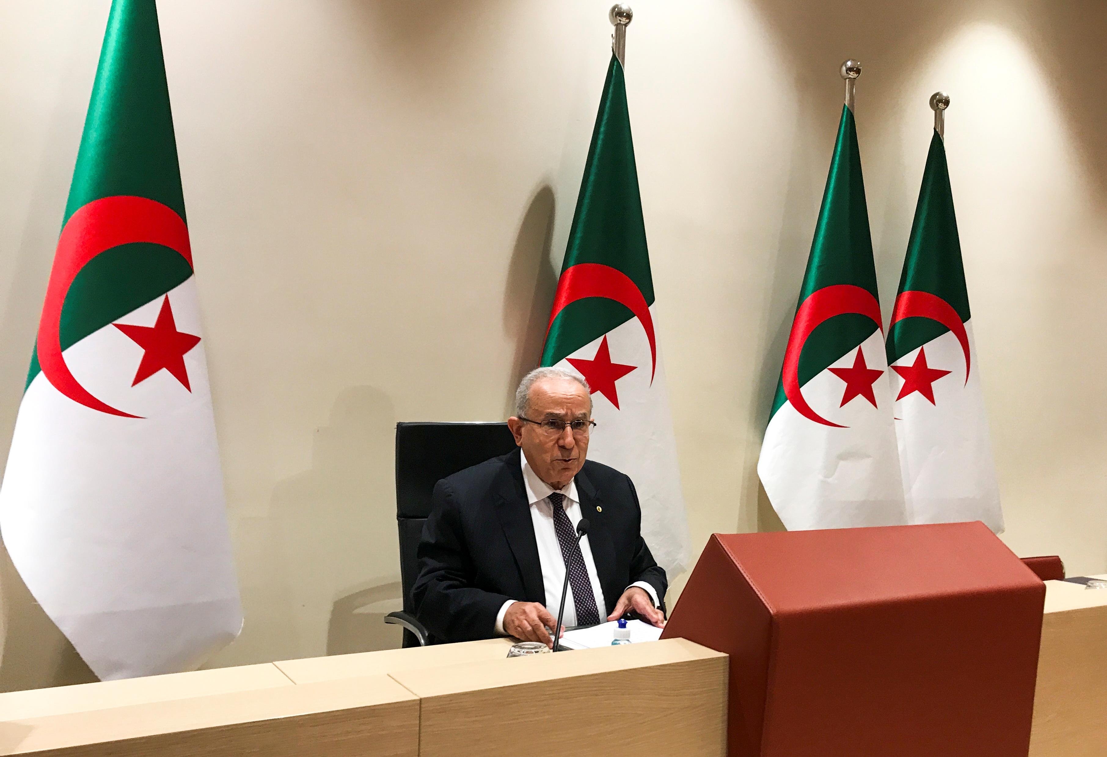 Algeria's Foreign Minister Ramtane Lamamra speaks during a news conference in Algiers, Algeria August 24, 2021. REUTERS/Abdelaziz Boumzar