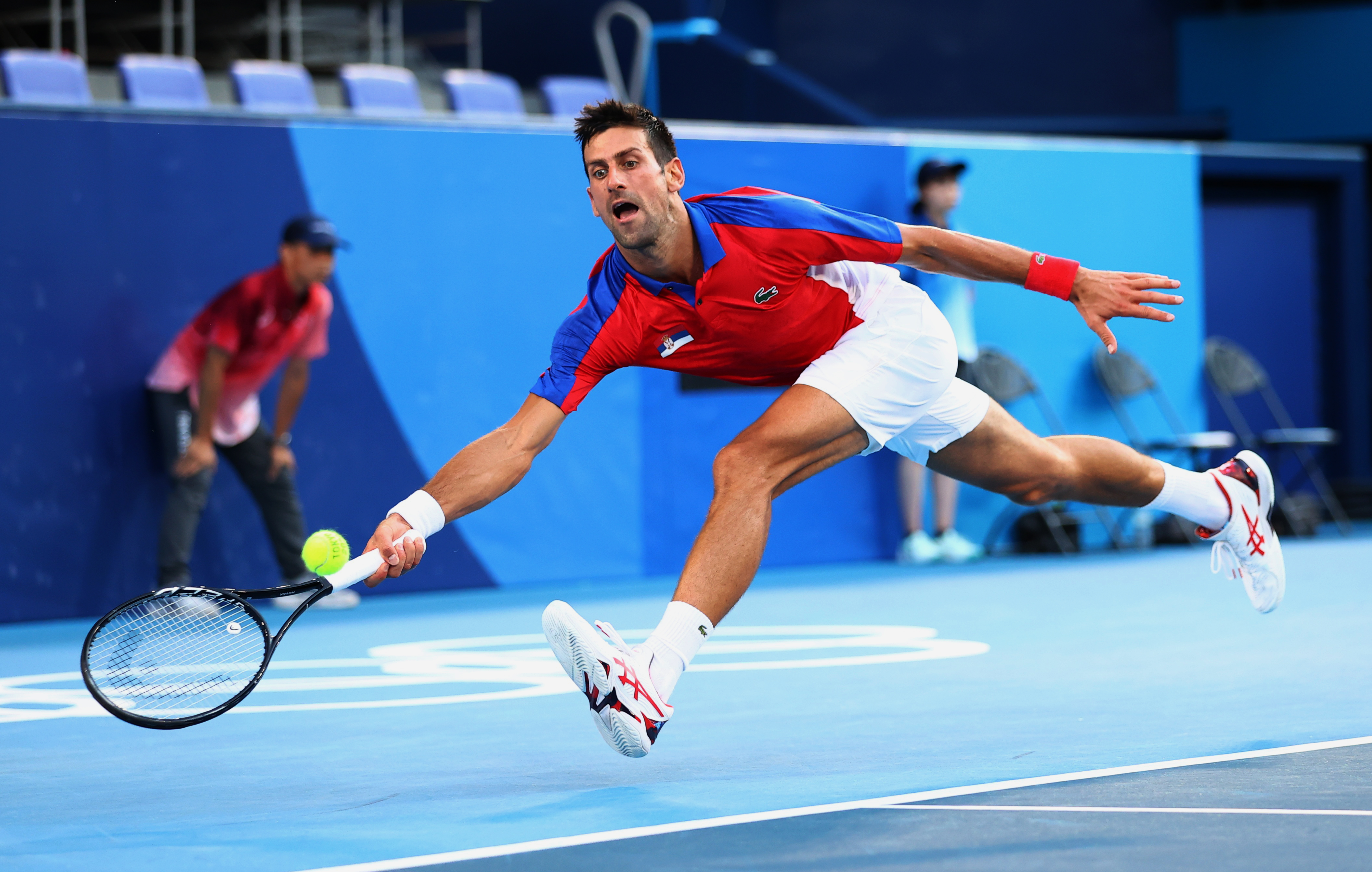 Tokyo 2020 Olympics - Tennis - Men's Singles - Bronze medal match - Ariake Tennis Park - Tokyo, Japan - July 31, 2021. Novak Djokovic of Serbia in action during his bronze medal match against Pablo Carreno of Spain