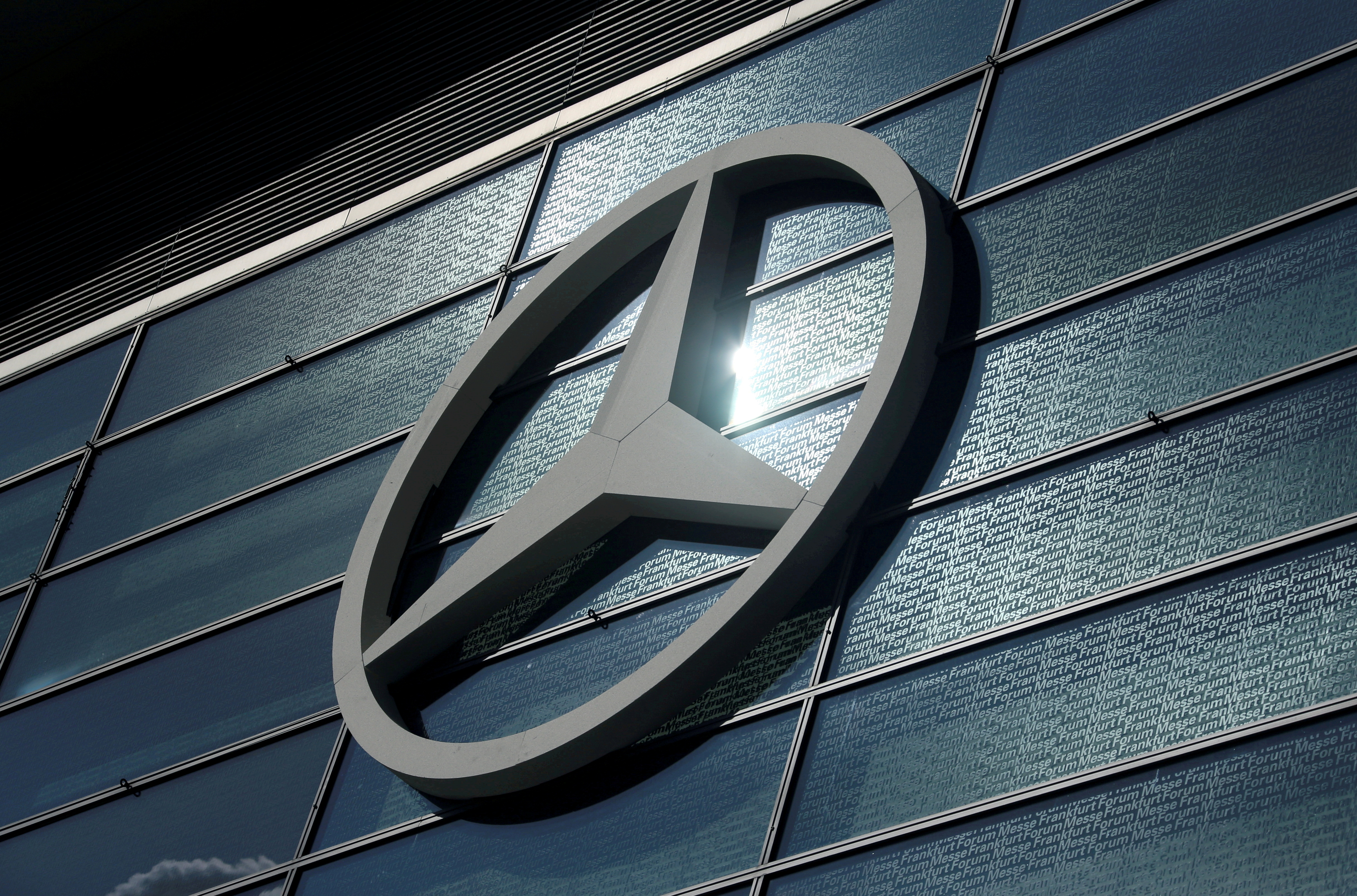 The Mercedes-Benz logo is pictured at the 2019 Frankfurt Motor Show (IAA) in Frankfurt, Germany, September 10, 2019. REUTERS/Ralph Orlowski