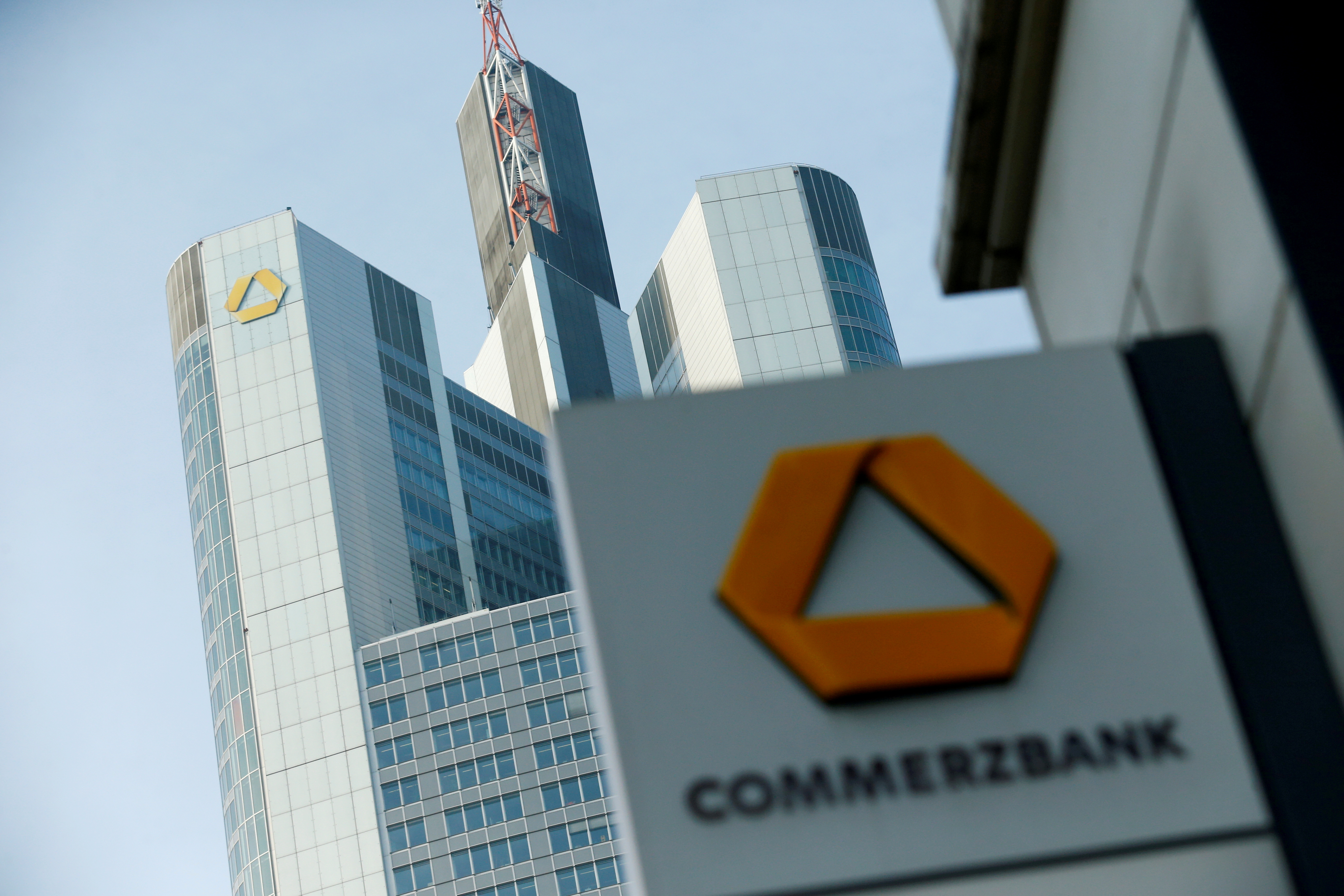 A Commerzbank logo is pictured before the bank's annual news conference in Frankfurt, Germany, February 9, 2017.    REUTERS/Ralph Orlowski/File Photo