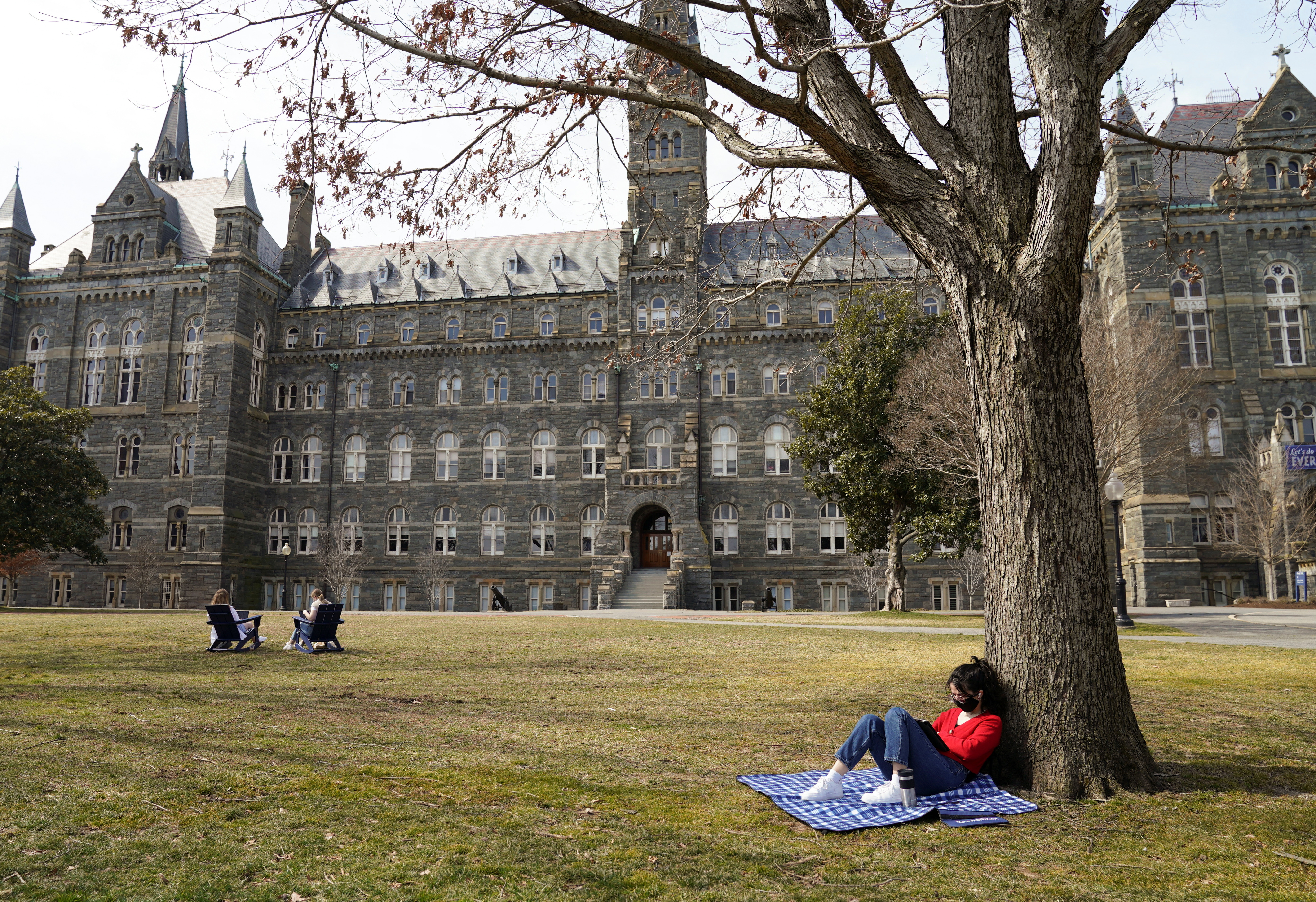 A student studies in the sunshine at Georgetown University in Washington, U.S., March 9, 2021. REUTERS/Kevin Lamarque