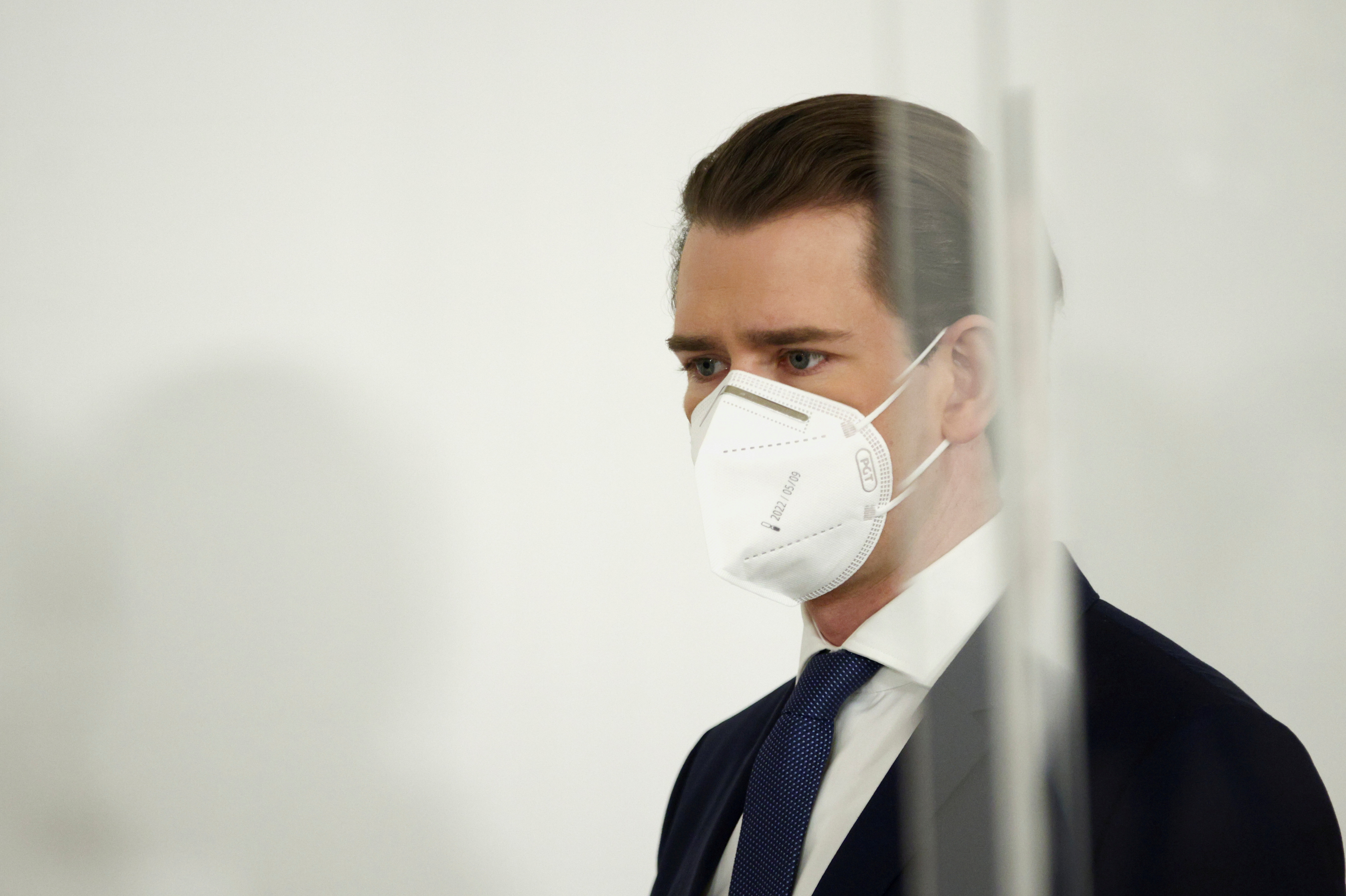 Austria's Chancellor Sebastian Kurz attends a news conference, as the spread of the coronavirus disease (COVID-19) continues, in Vienna, Austria March 1, 2021. REUTERS/Lisi Niesner