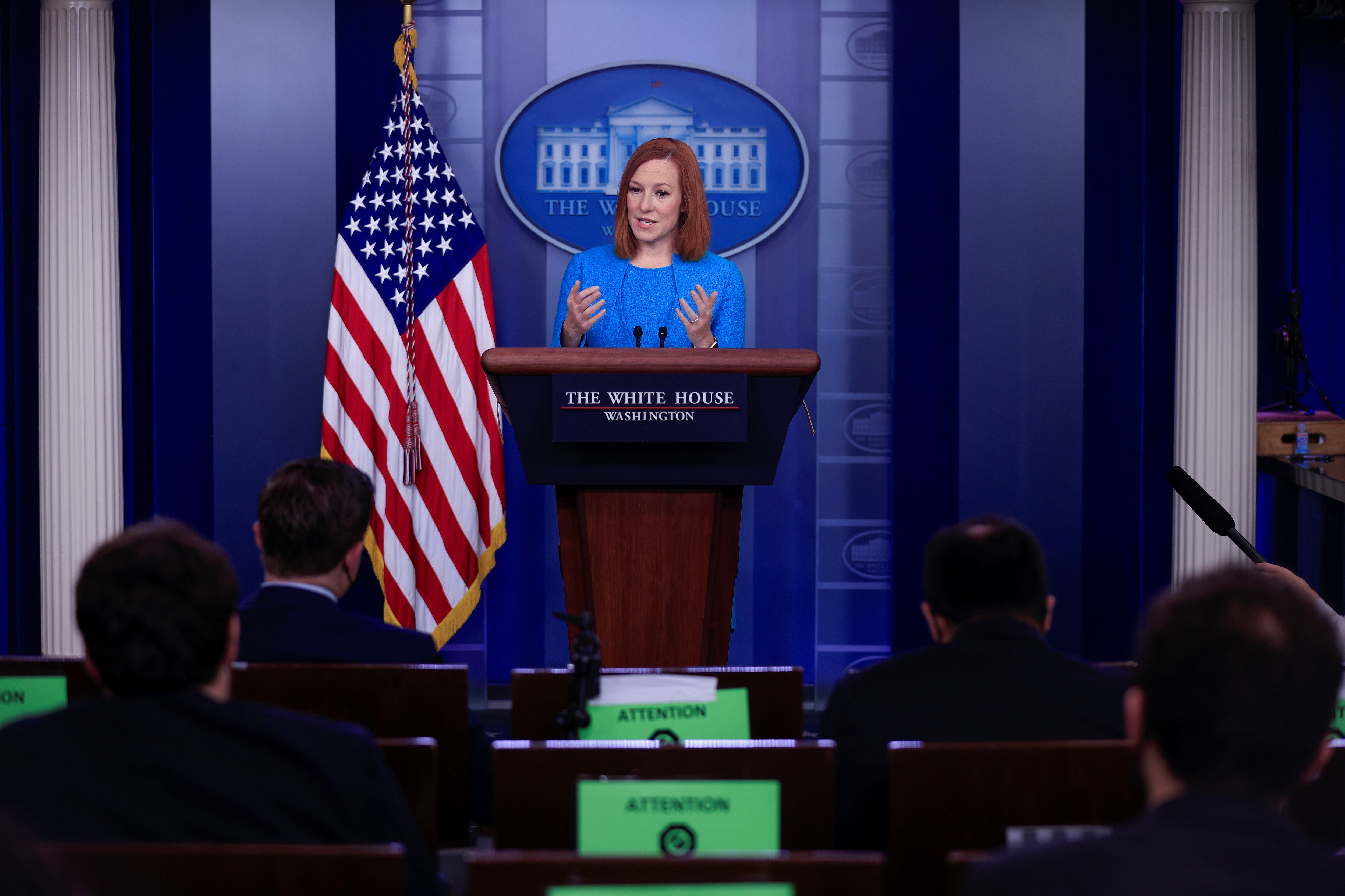 White House Press Secretary Jen Psaki delivers remarks during a press briefing at the White House in Washington, U.S., April 15, 2021. REUTERS/Tom Brenner