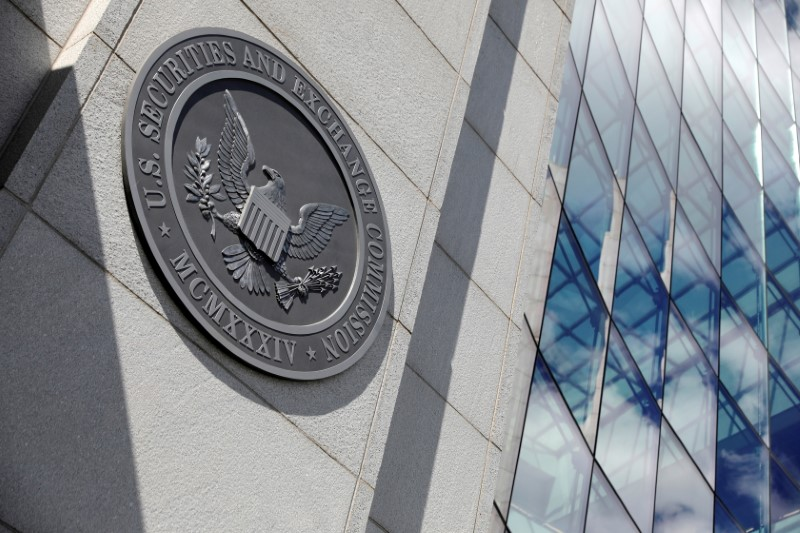 The seal of the U.S. Securities and Exchange Commission (SEC) is seen at their  headquarters in Washington, D.C., U.S., May 12, 2021. REUTERS/Andrew Kelly