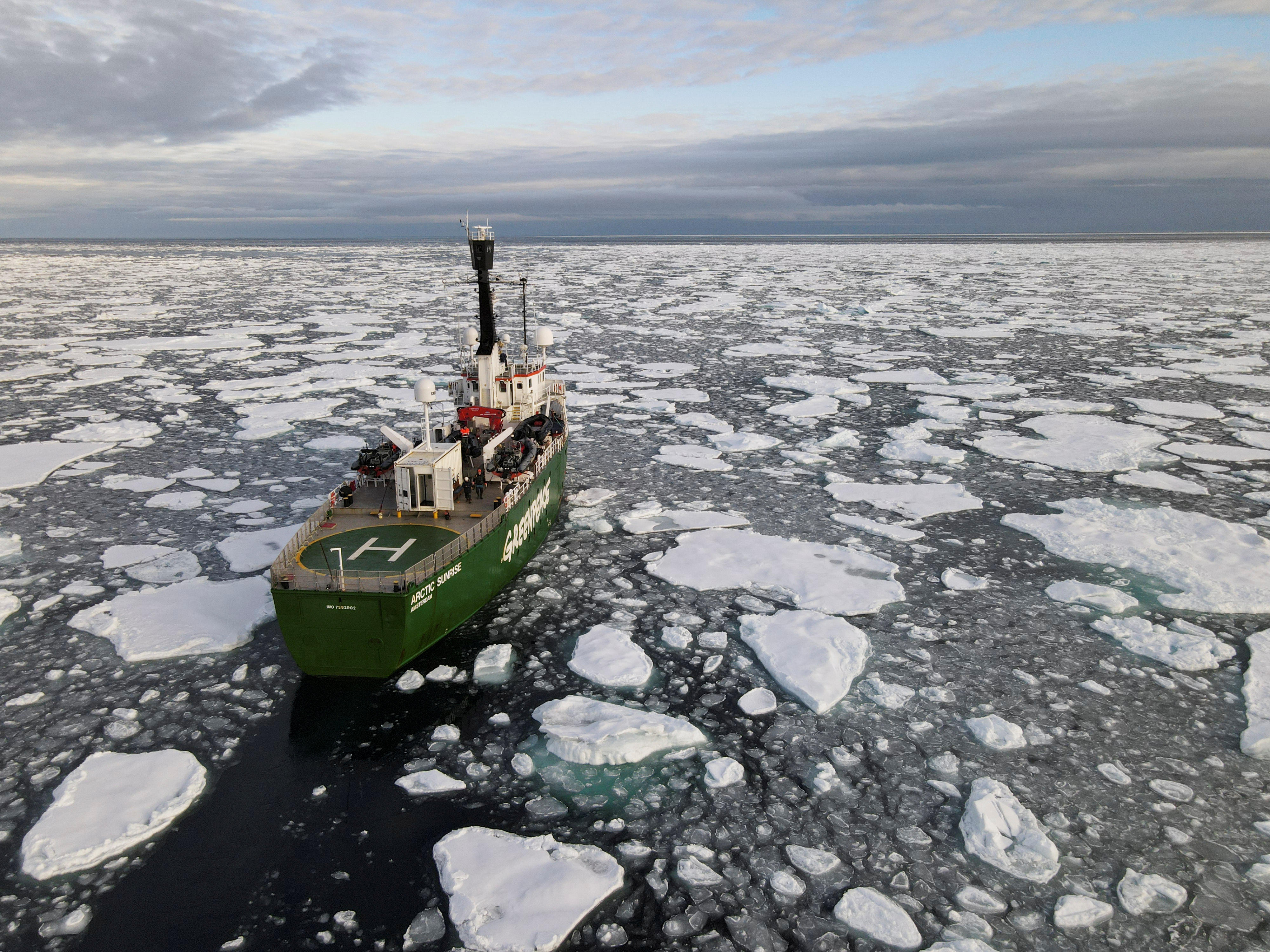 Greenpeace's Arctic Sunrise ship navigates through floating ice in the Arctic Ocean, September 15, 2020. Picture taken September 15, 2020. Picture taken with a drone. REUTERS/Natalie Thomas/File Photo