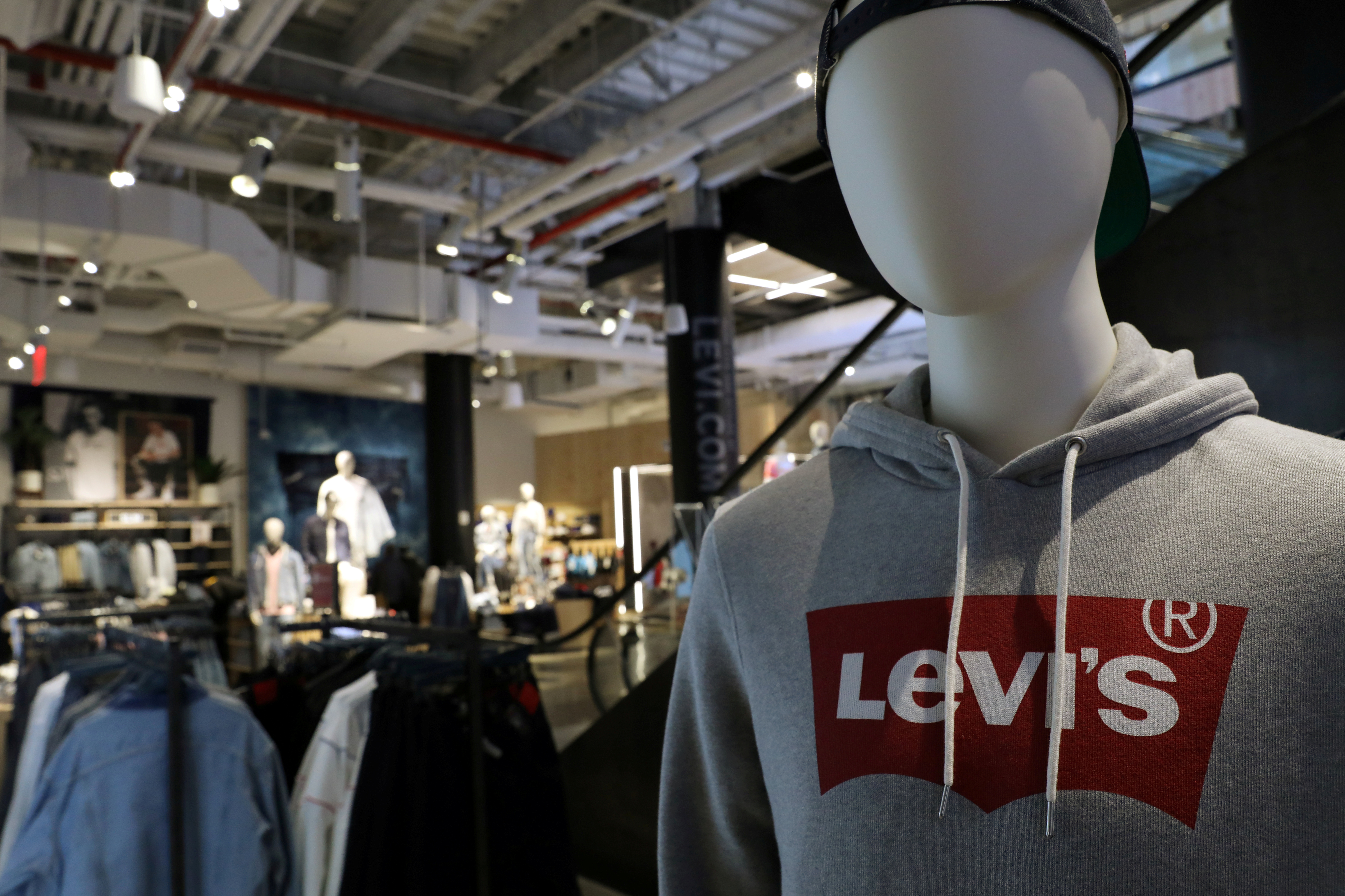 The Levi's logo is seen on a shirt in a Levi Strauss store in New York City, U.S., March 19, 2019. REUTERS/Brendan McDermid/Files