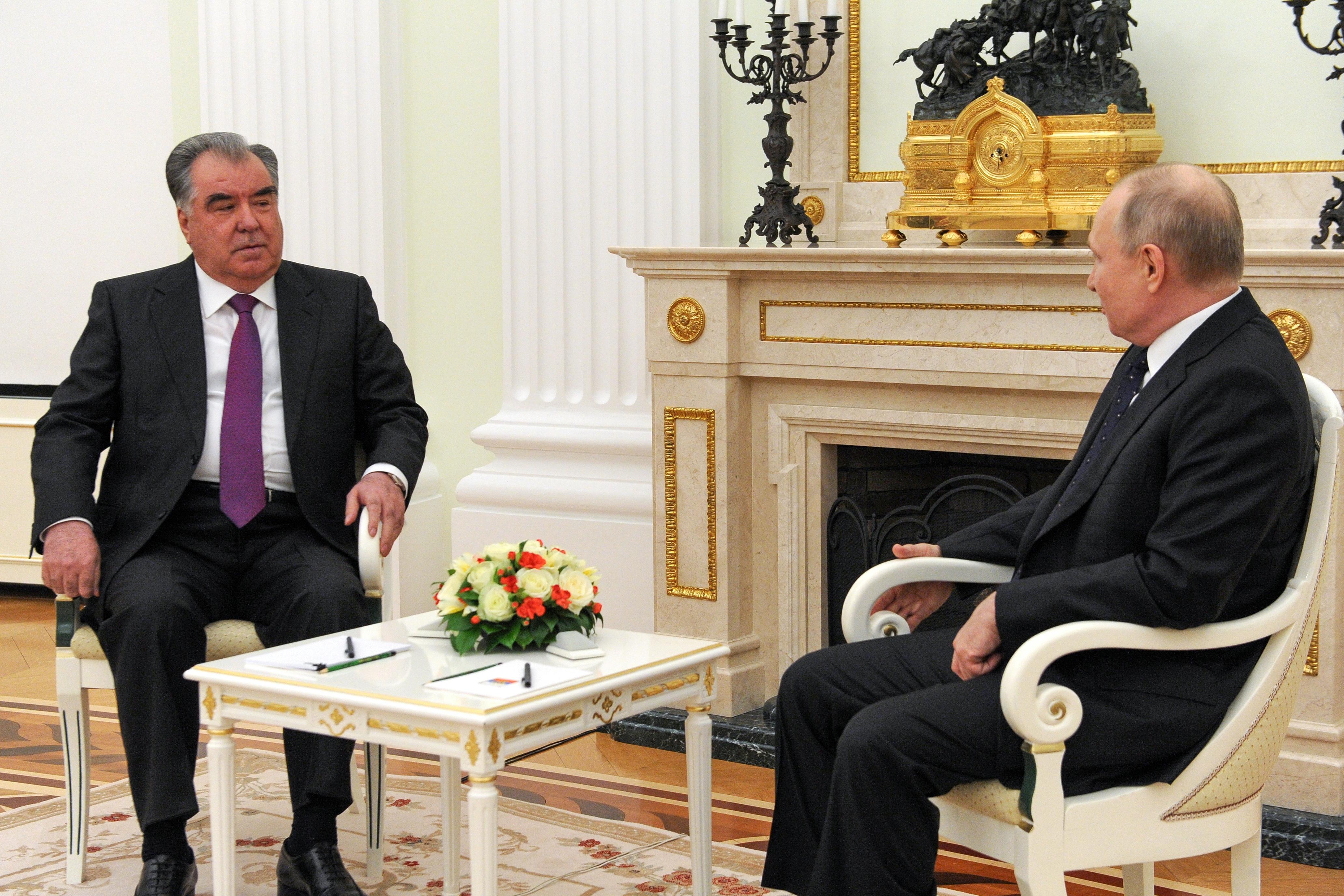 Russian President Vladimir Putin attends a meeting with his Tajik counterpart Emomali Rakhmon in Moscow, Russia May 8, 2021. Sputnik/Mikhail Klimentyev/Kremlin via REUTERS