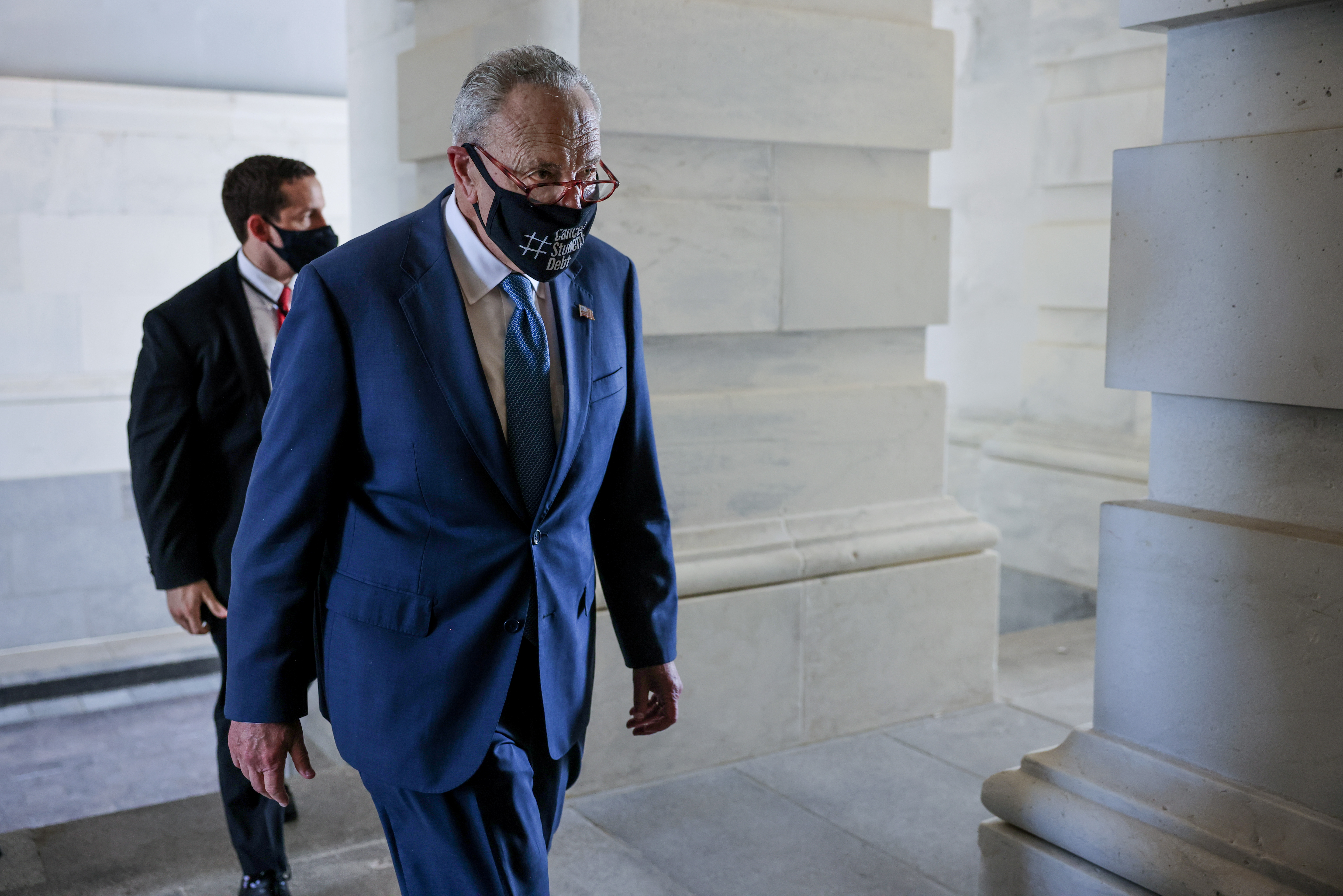 Senate Majority leader Chuck Schumer (D-NY) enters the U.S. Capitol ahead of a day of voting on amendments to the bipartisan infrastructure deal at the U.S. Capitol in Washington, U.S., August 5, 2021. REUTERS/Evelyn Hockstein