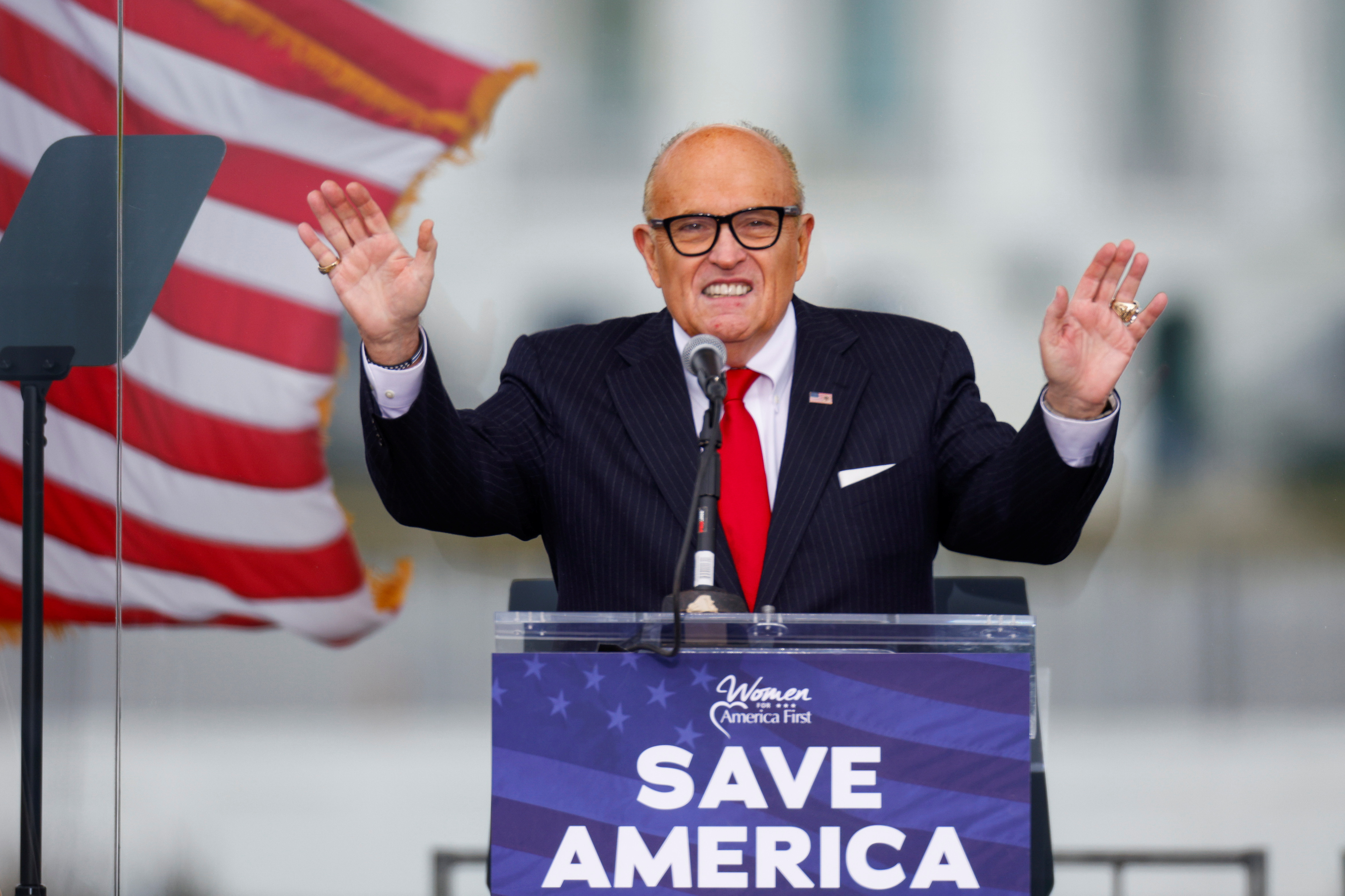 U.S. President Donald Trump's personal lawyer Rudy Giuliani speaks as Trump supporters gather by the White House ahead of his speech to contest the certification by the U.S. Congress of the results of the 2020 U.S. presidential election in Washington, U.S, January 6, 2021. REUTERS/Jim Bourg