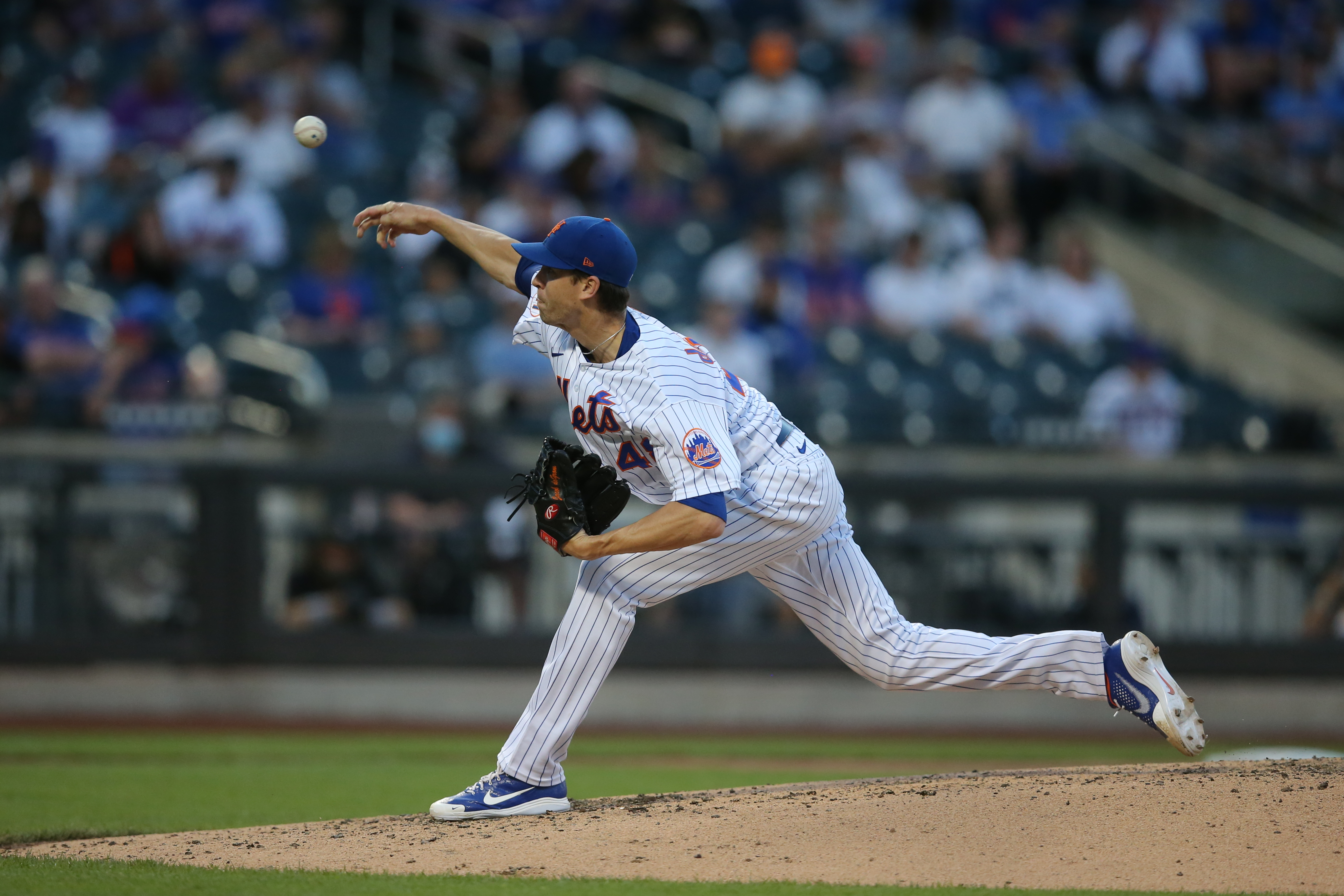 Jun 16, 2021; New York City, New York, USA; New York Mets starting pitcher Jacob deGrom (48) pitches against the Chicago Cubs during the third inning at Citi Field. Mandatory Credit: Brad Penner-USA TODAY Sports