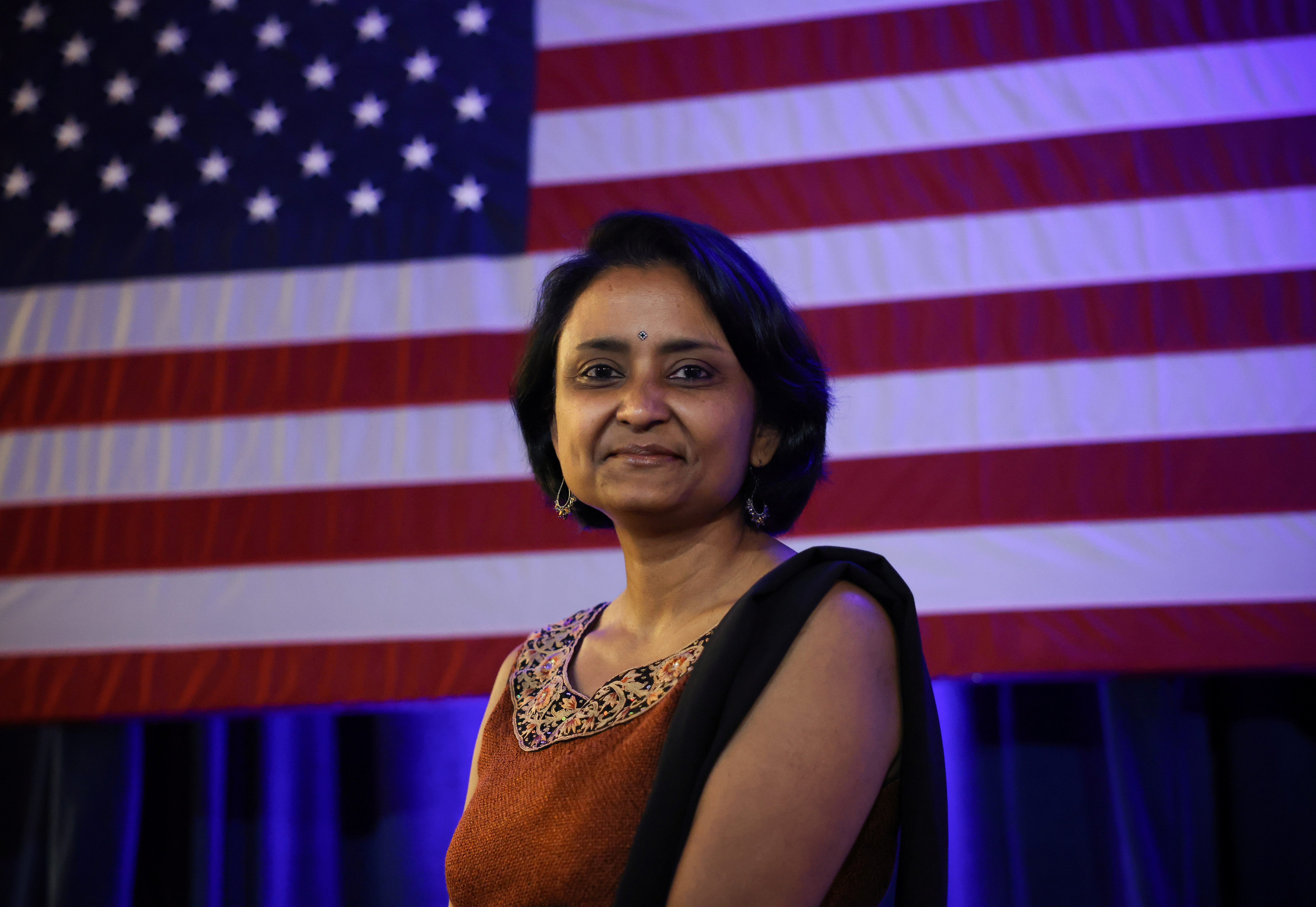 Suparna Dutta, the chairperson of Educators for Youngkin, is photographed following a campaign event for Virginia gubernatorial candidate Glenn Youngkin (R-VA), in McLean, Virginia, U.S., July 14, 2021. Picture taken July 14, 2021. REUTERS/Evelyn Hockstein